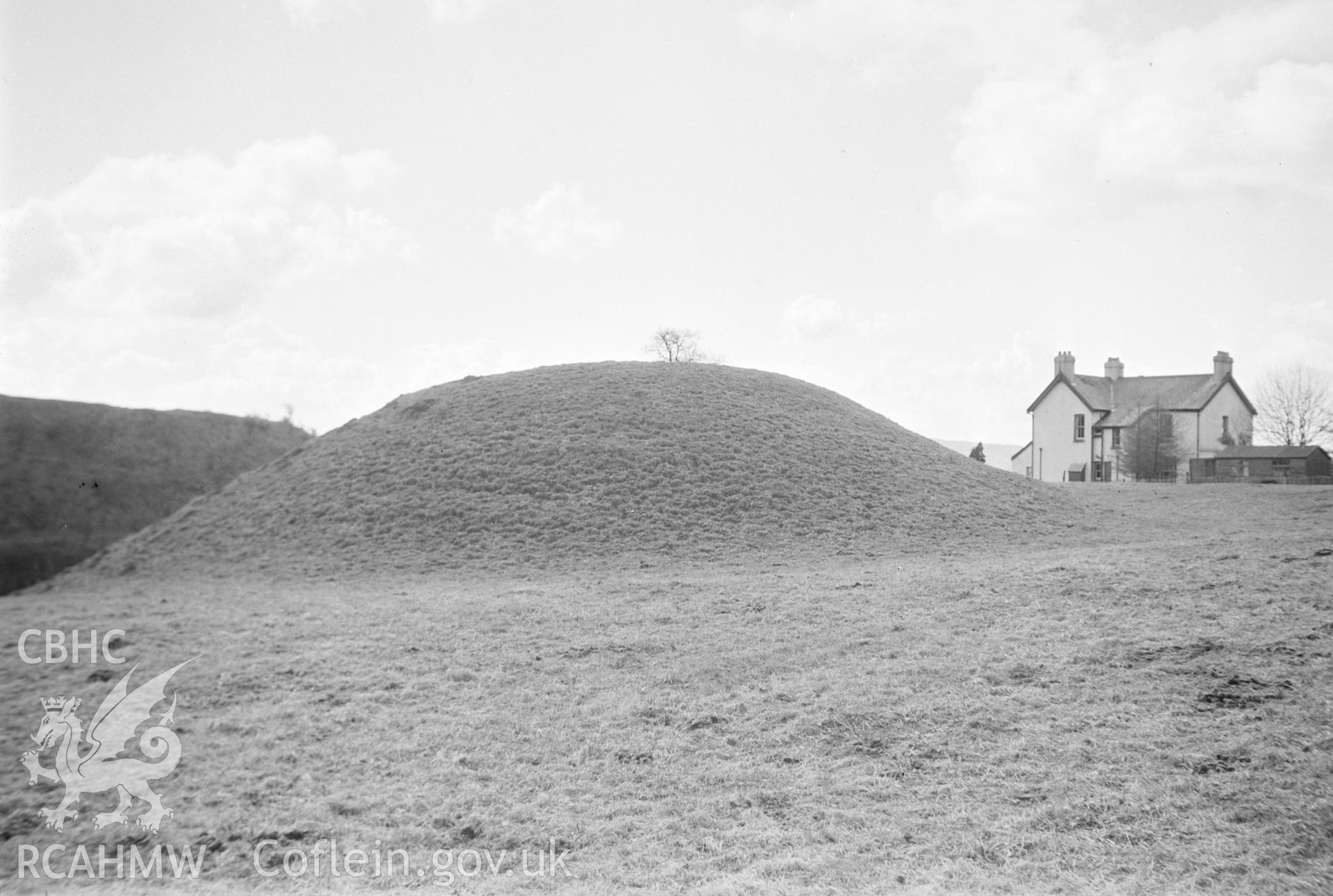 Digital copy of a nitrate negative showing Cae Burdydd mound, Vaynor. From the Cadw Monuments in Care Collection.