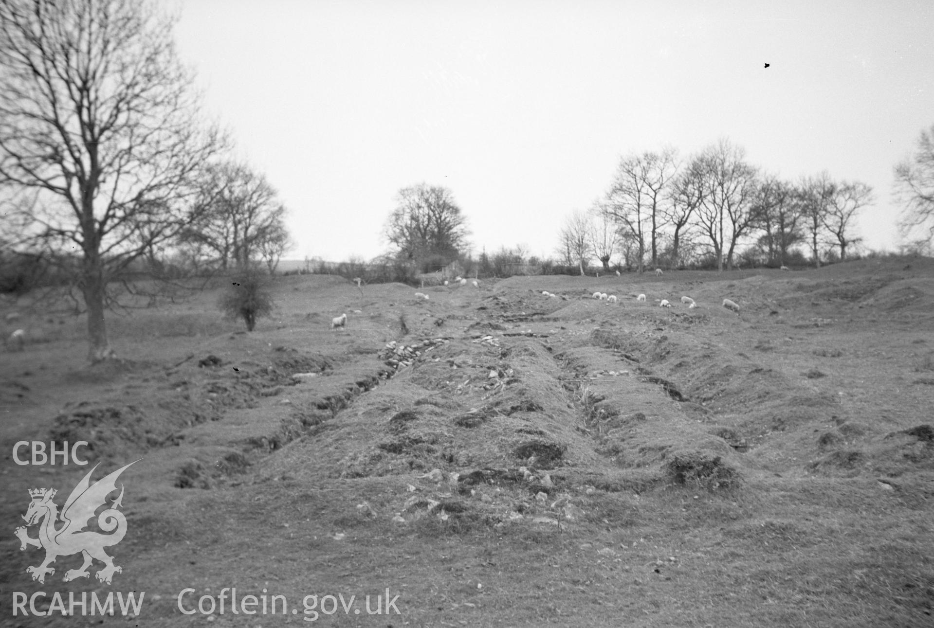 Digital copy of a nitrate negative showing Castell Collen Roman Fort.
