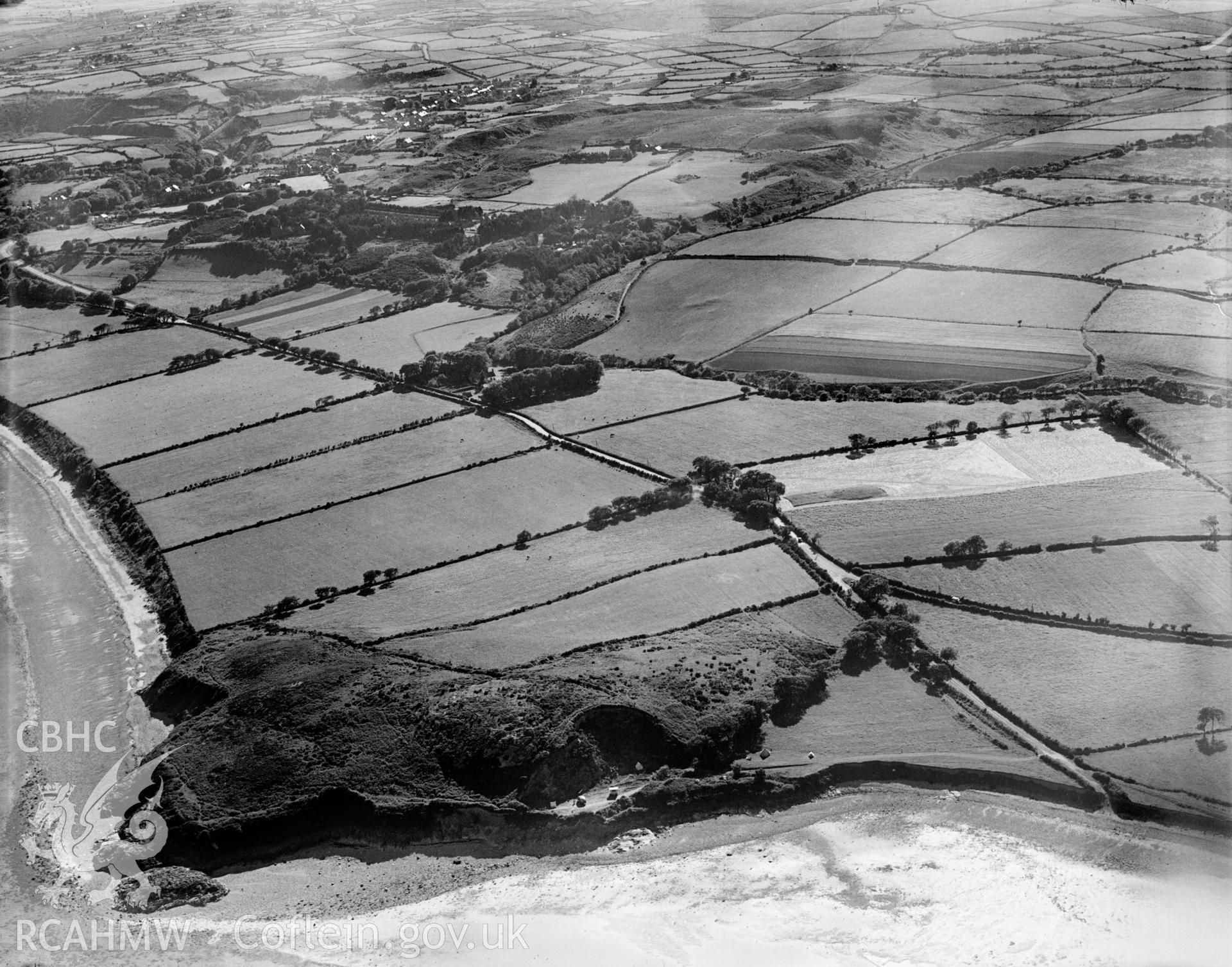 View of landscape (Penrhos and Carreg y Defaid) near Pwllheli, oblique aerial view. 5?x4? black and white glass plate negative.