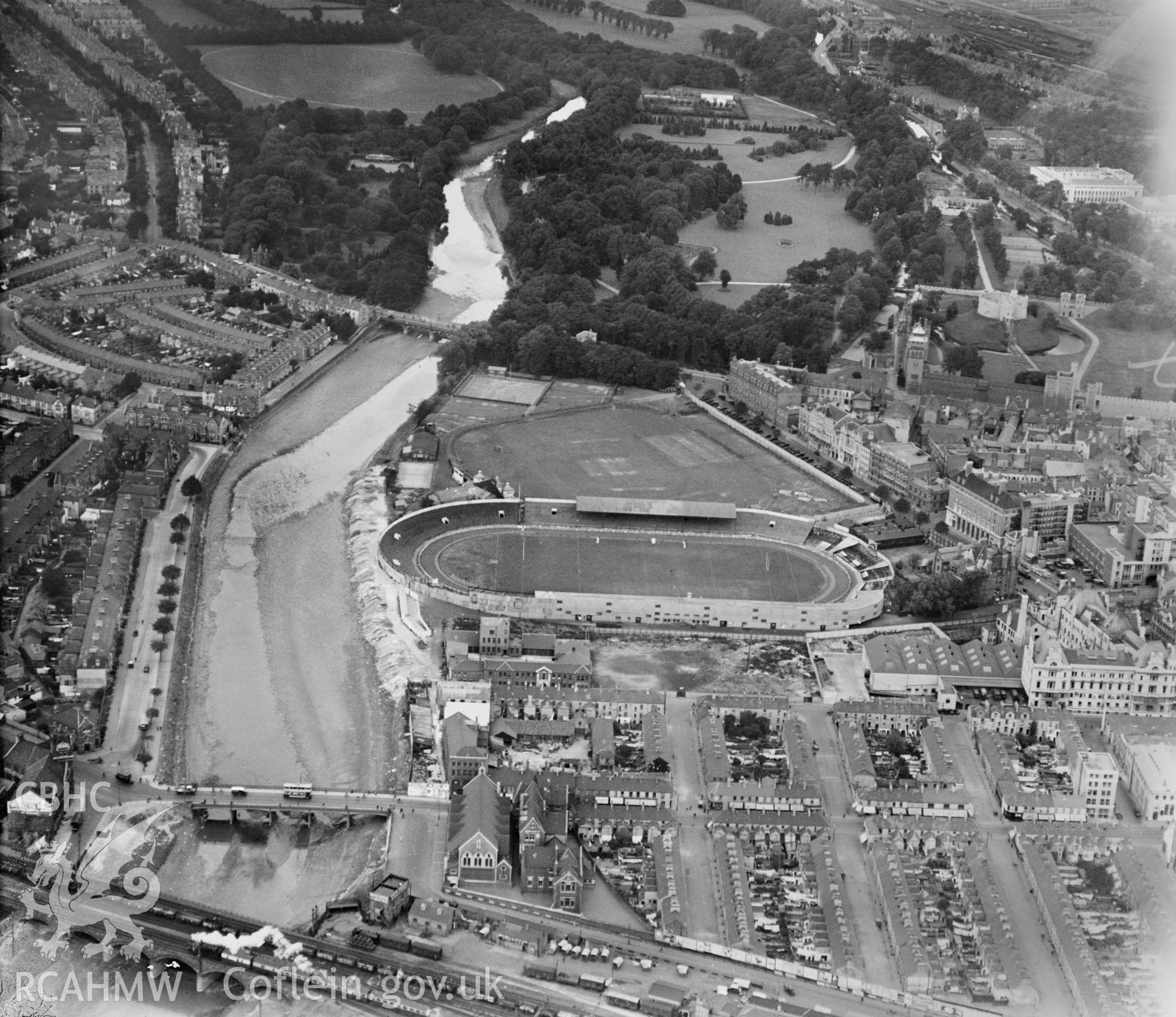 Cardiff Arms Park, and greyhound track, oblique aerial view. 5?x4? black and white glass plate negative.