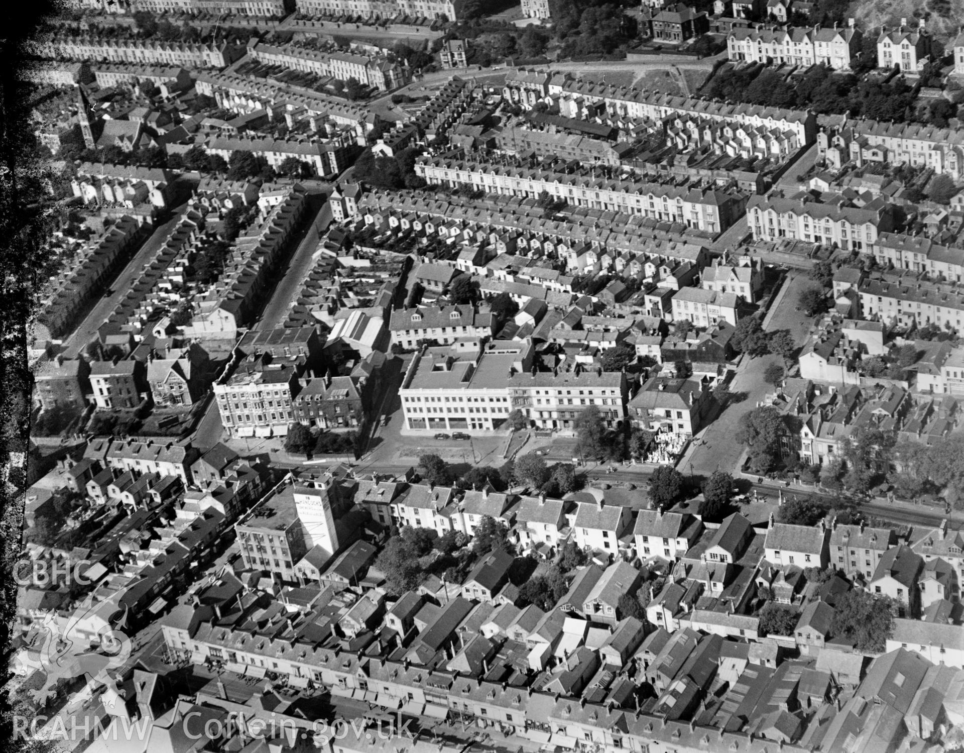 View of residential areas of Swansea, oblique aerial view. 5?x4? black and white glass plate negative.