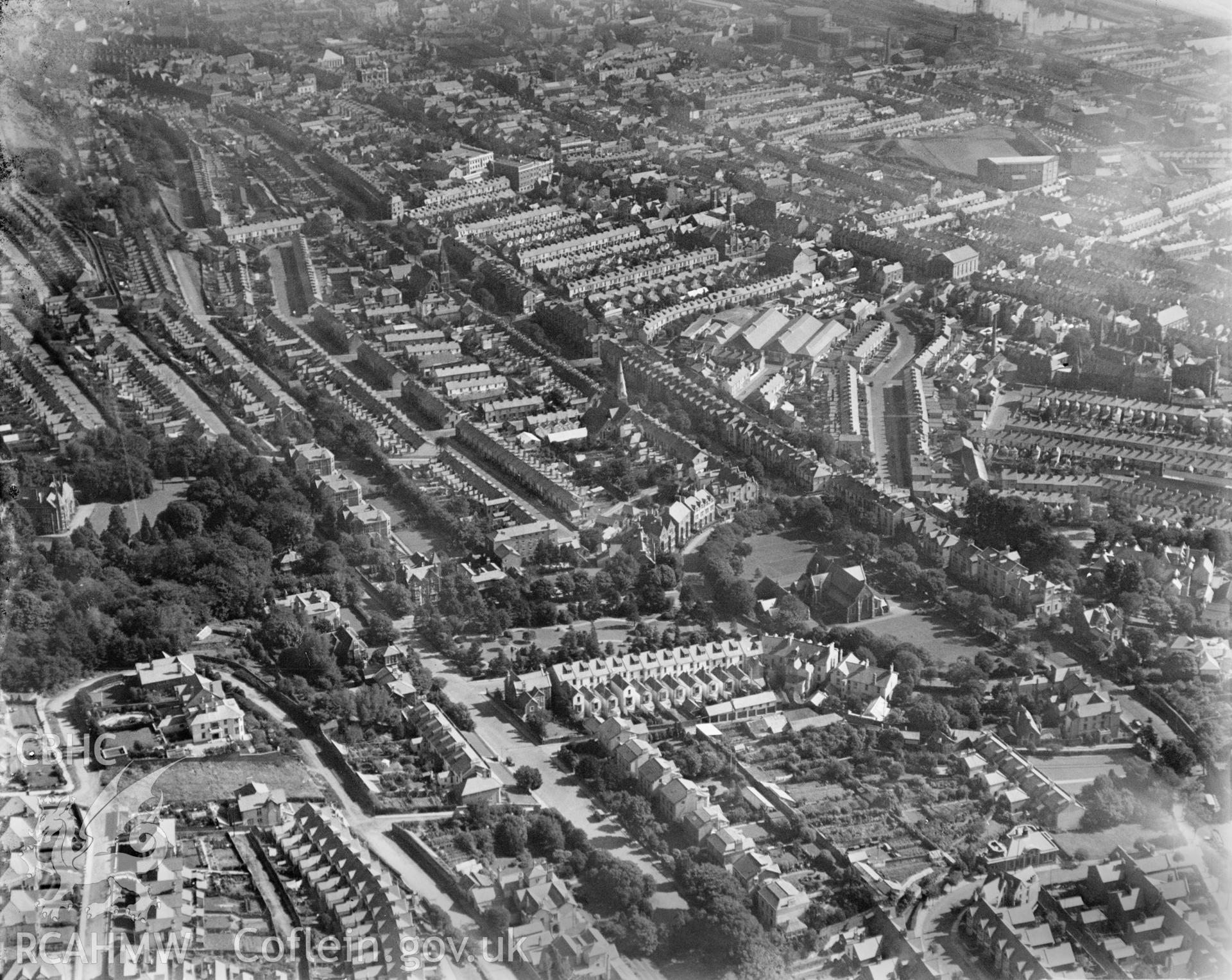 General view of Swansea, residential areas, oblique aerial view. 5?x4? black and white glass plate negative.