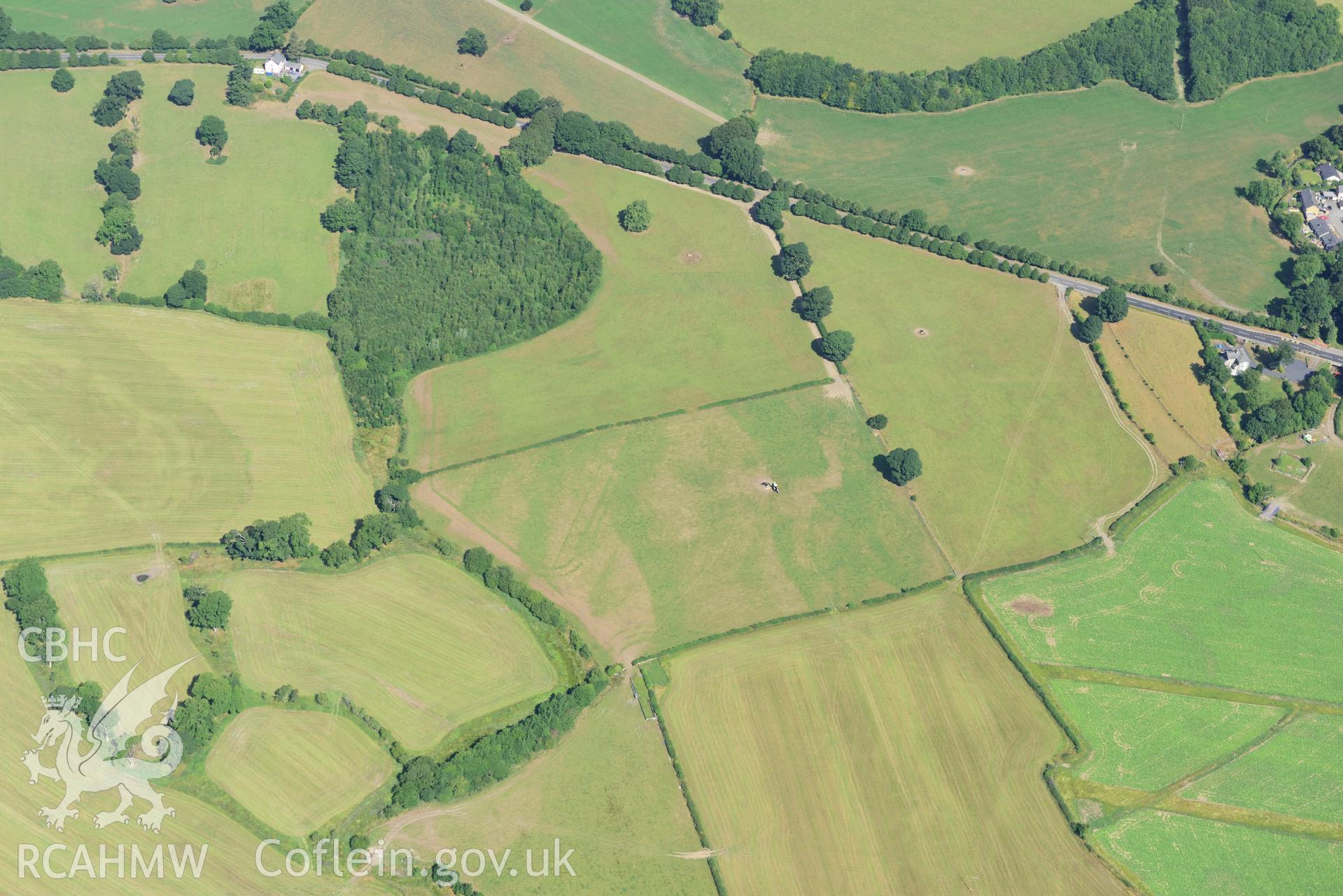 Royal Commission aerial photography of cropmarks of Llanfor Roman fort taken on 19th July 2018 during the 2018 drought.