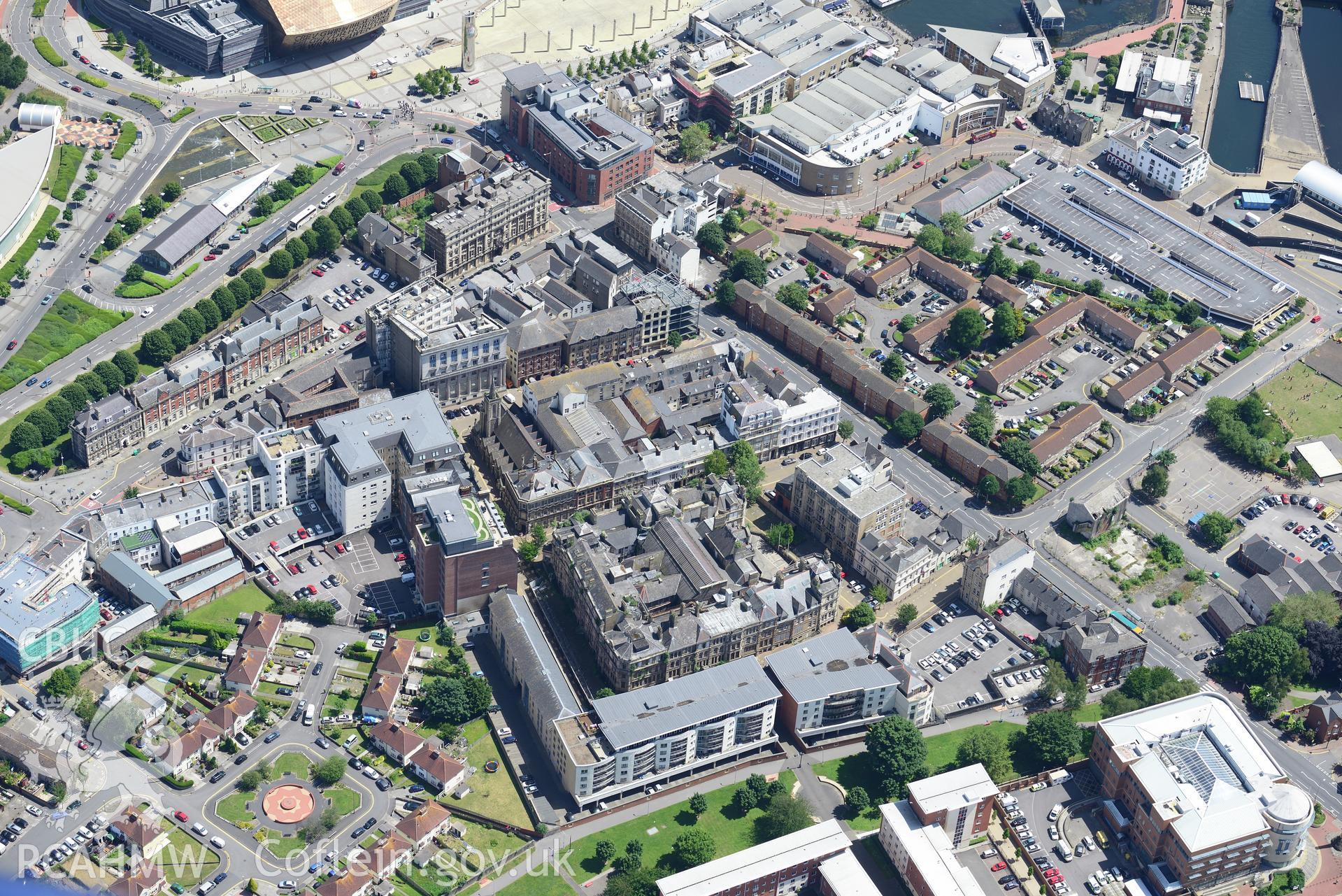 The old Coal Exchange and Baltic House, Mount Stuart Square, Butetown, Cardiff Bay. Oblique aerial photograph taken during the Royal Commission's programme of archaeological aerial reconnaissance by Toby Driver on 29th June 2015.