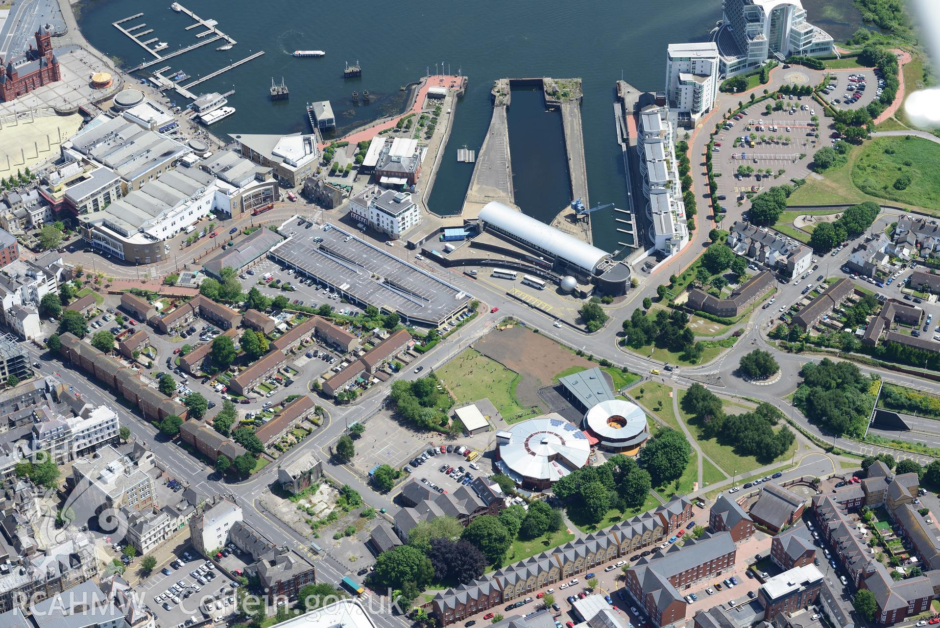 Mountstuart Primary School, Techniquest and St. David's Hotel, Butetown, Cardiff Bay. Oblique aerial photograph taken during the Royal Commission's programme of archaeological aerial reconnaissance by Toby Driver on 29th June 2015.
