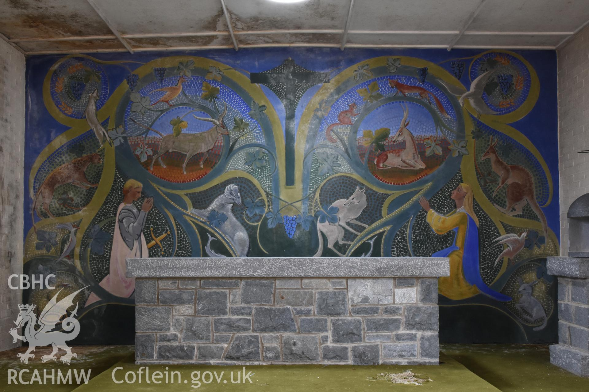 Detailed view of mural behind pulpit at the Catholic Church of the Holy Spirit, Criccieth. Photographed during survey conducted by Sue Fielding for the RCAHMW, 21st January 2019.