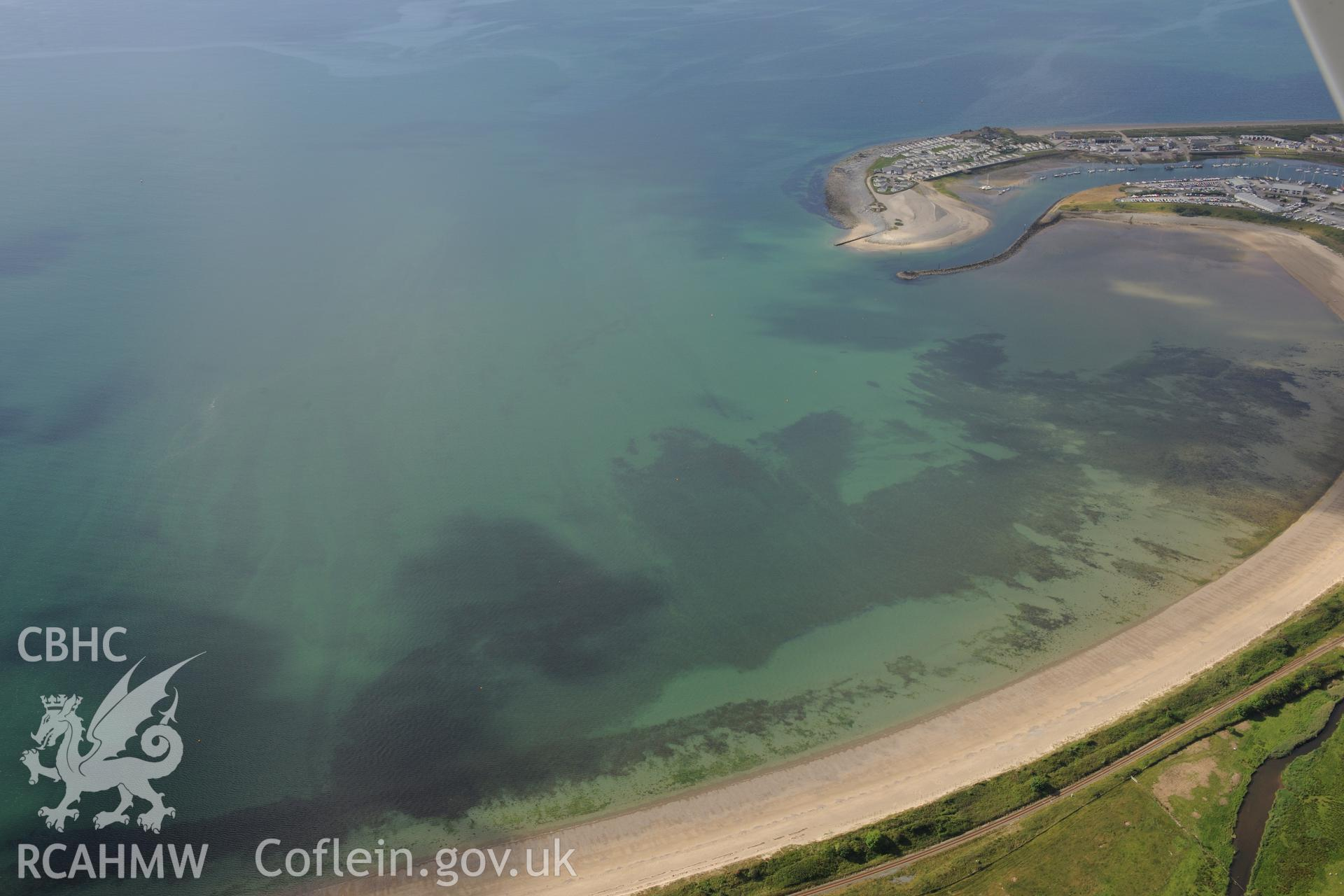 Pwllheli harbour and town. Oblique aerial photograph taken during the Royal Commission's programme of archaeological aerial reconnaissance by Toby Driver on 23rd June 2015.