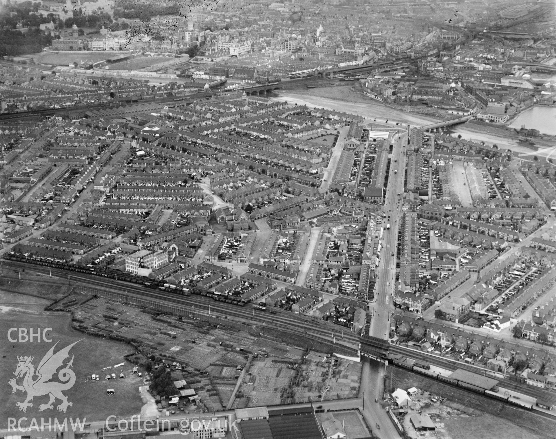General view of Cardiff, residential areas, oblique aerial view. 5?x4? black and white glass plate negative.