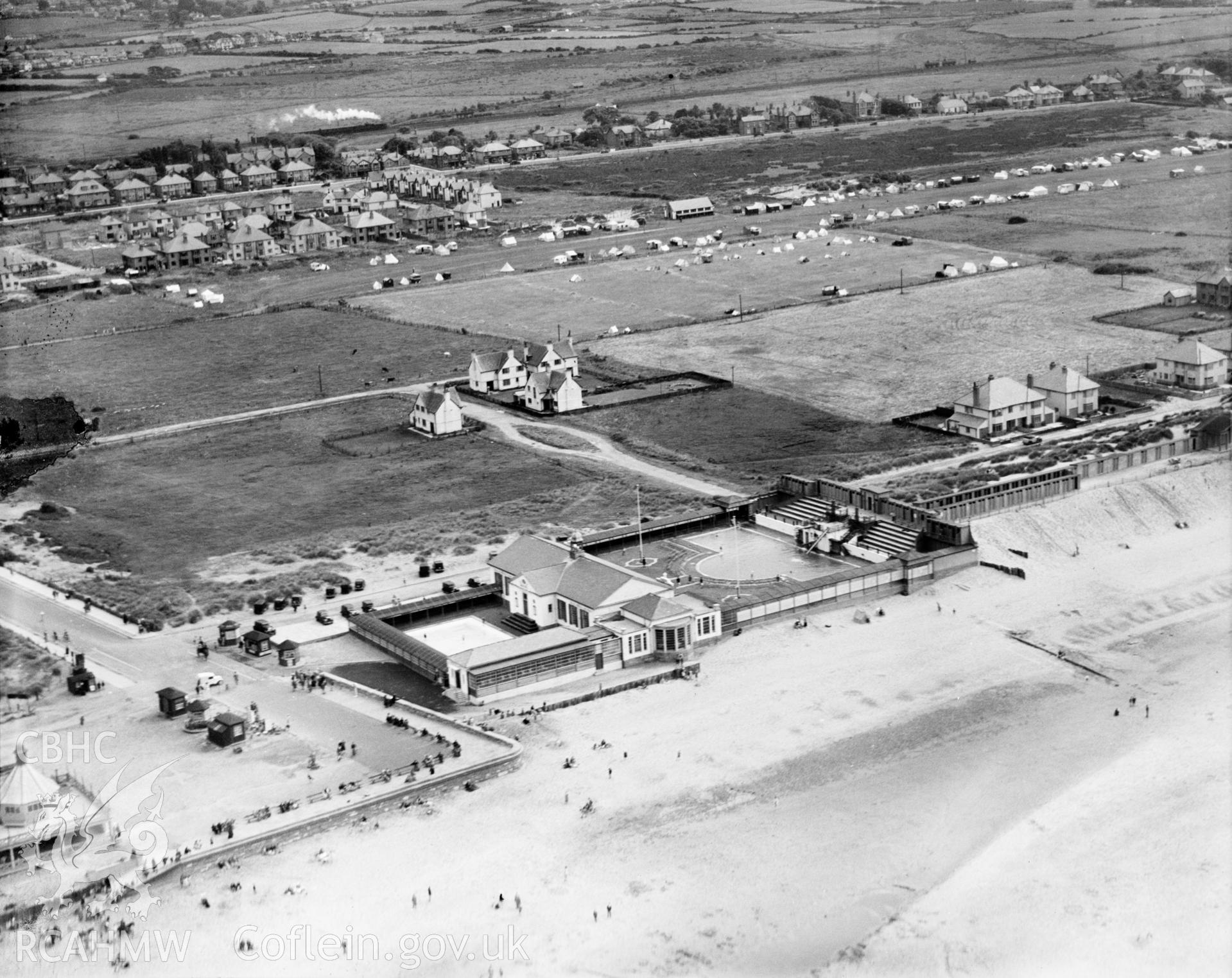 View of Prestatyn showing the newly built Lido, oblique aerial view. 5?x4? black and white glass plate negative.