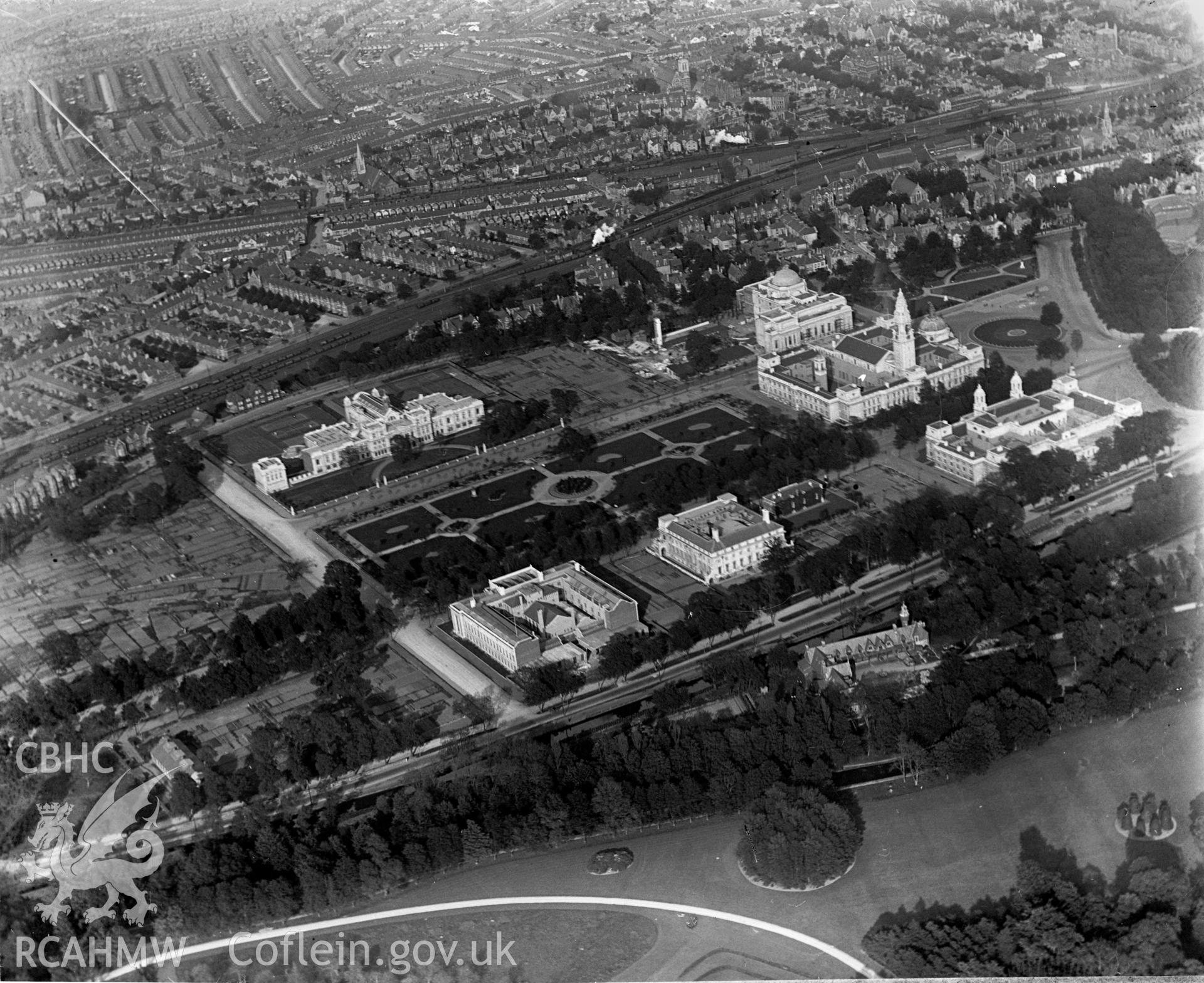 View of Cathays Park and Civic Centre, oblique aerial view. 5?x4? black and white glass plate negative.
