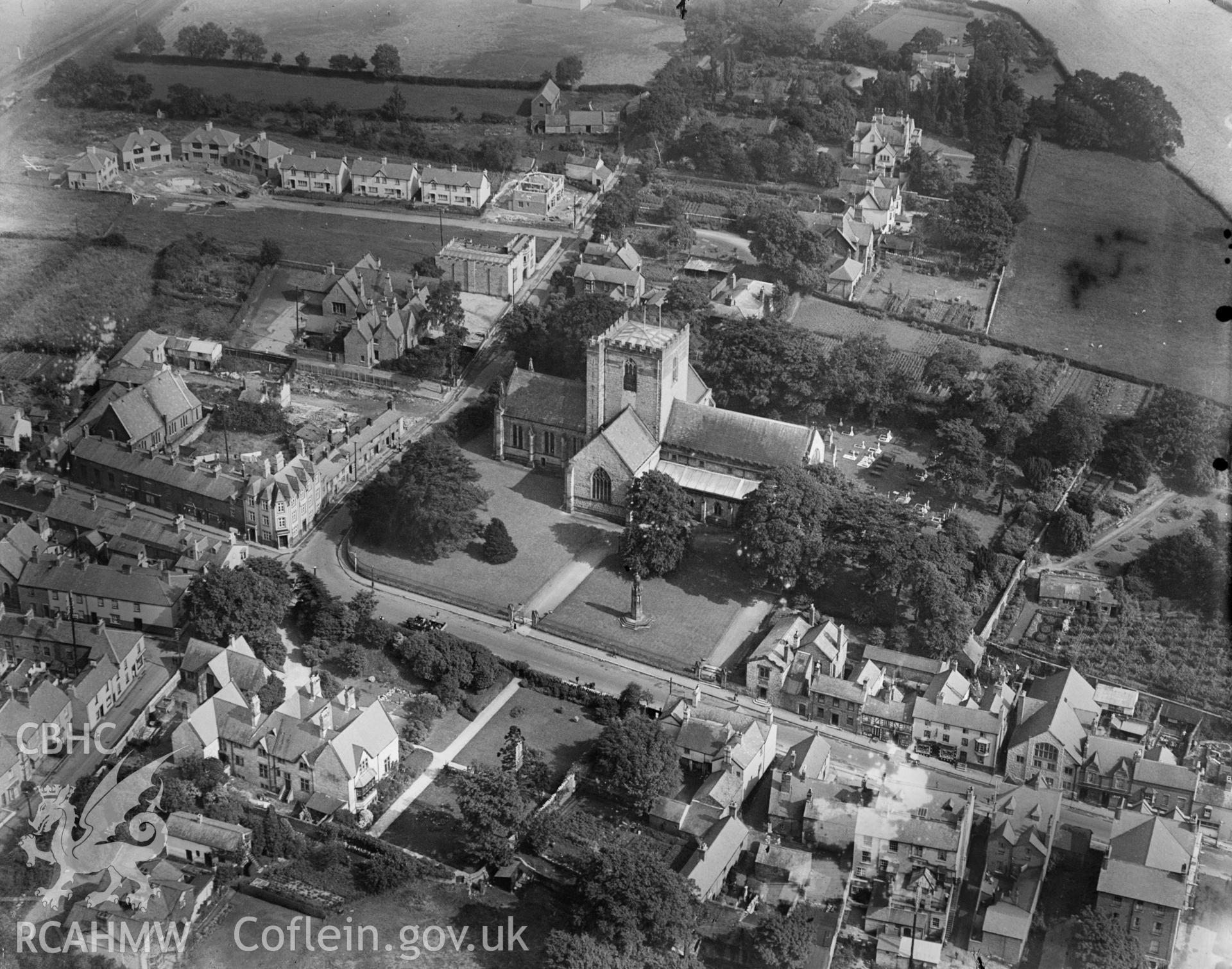 St Asaph, oblique aerial view. 5?x4? black and white glass plate negative.