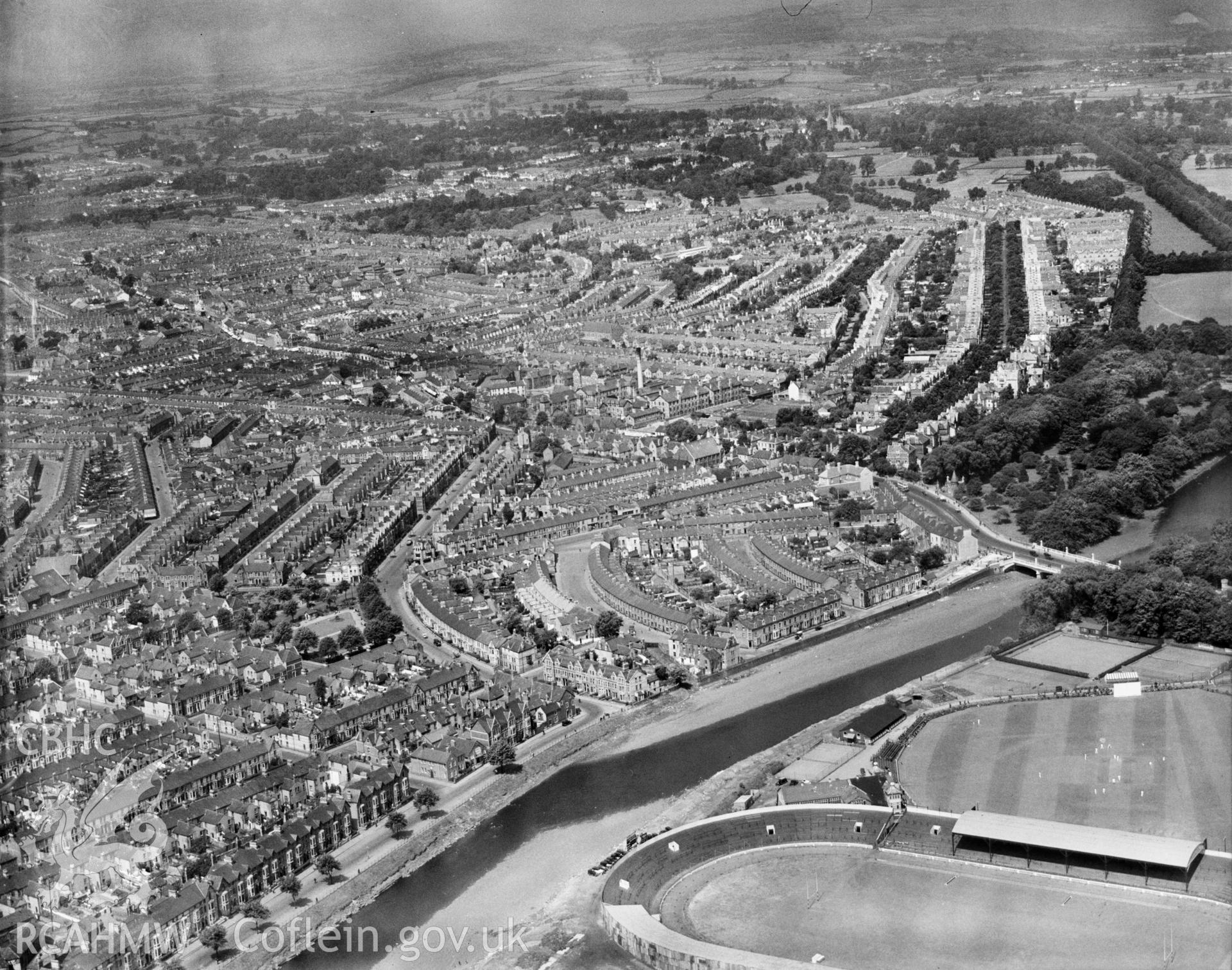 View of the Riverside area of Cardiff showing Cardiff Arms Park and cricket ground. Oblique aerial photograph.
