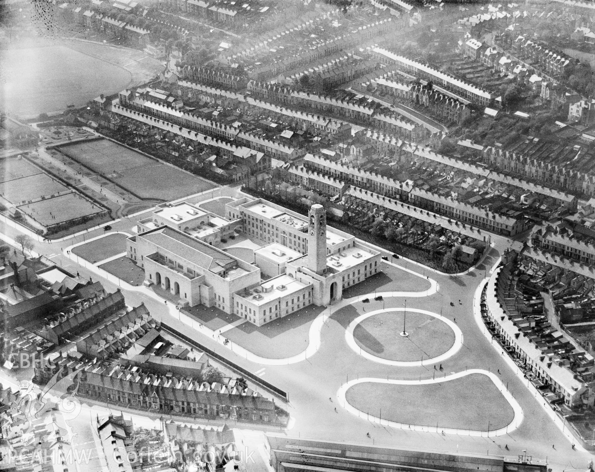 View of newly built civic centre, Swansea, oblique aerial view. 5?x4? black and white glass plate negative.