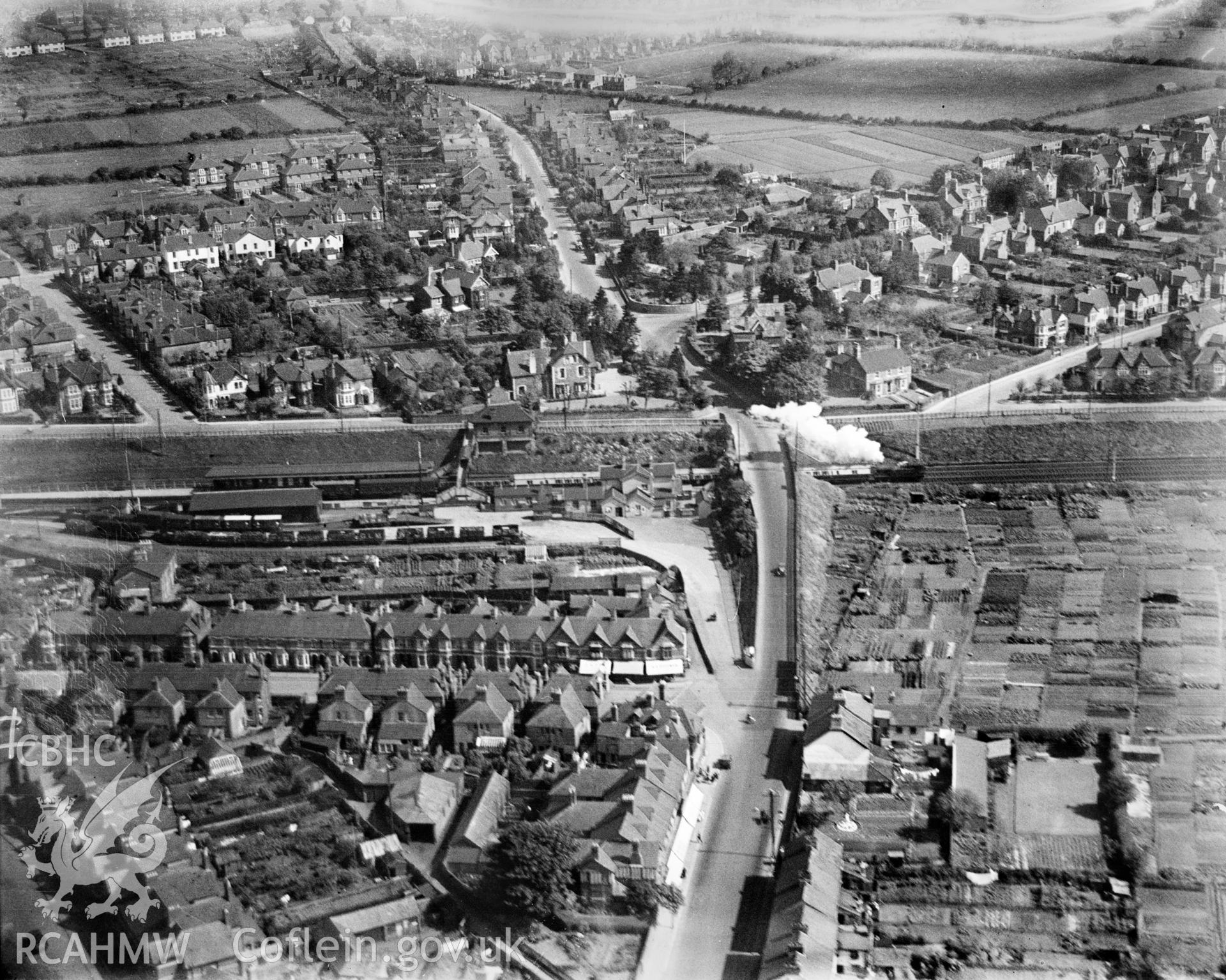 General view of Llandaff, with train, oblique aerial view. 5?x4? black and white glass plate negative.