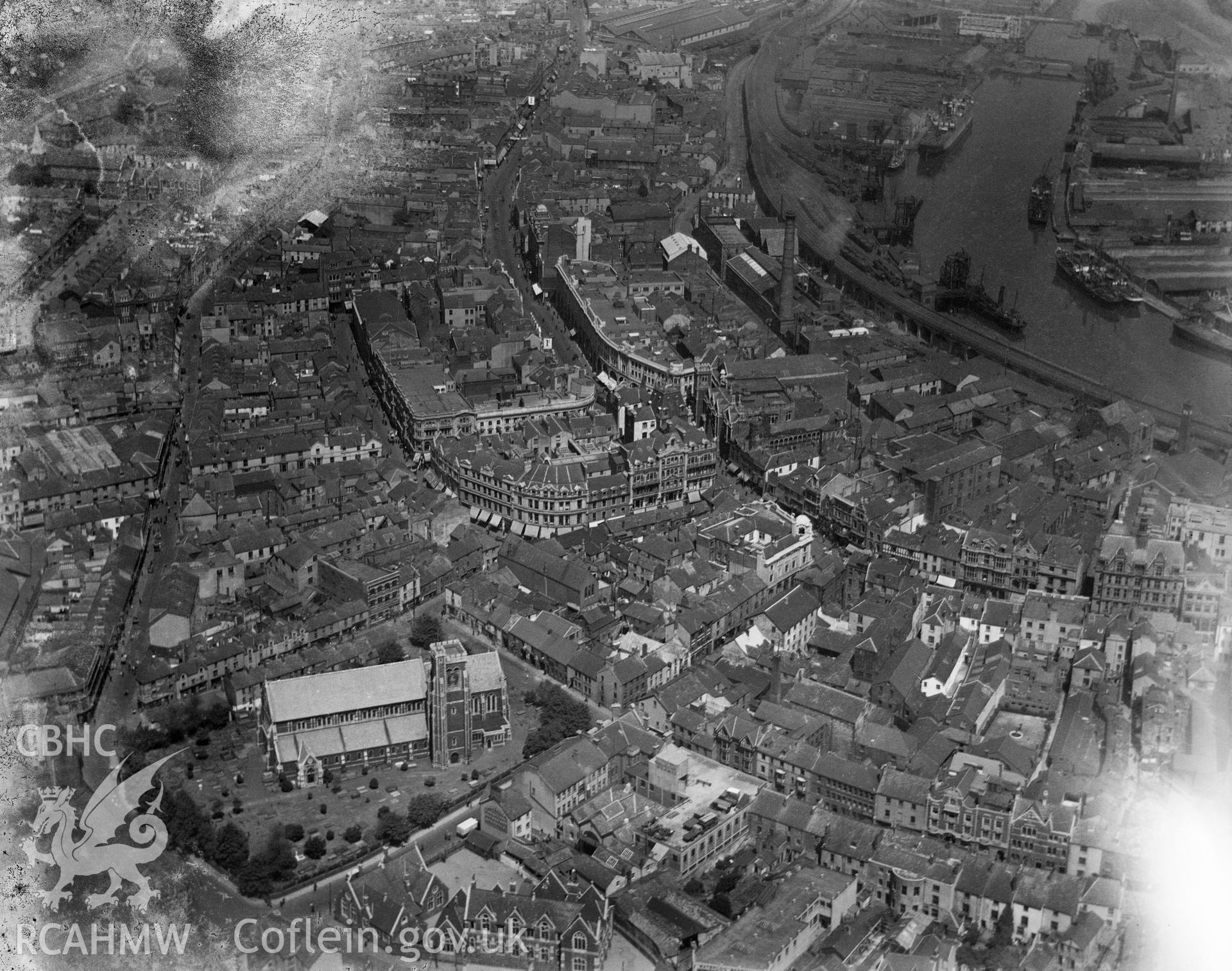 Black and white oblique aerial photograph showing Swansea City, from Aerofilms album Swansea (Box W30), taken by Aerofilms Ltd and dated 1923.
