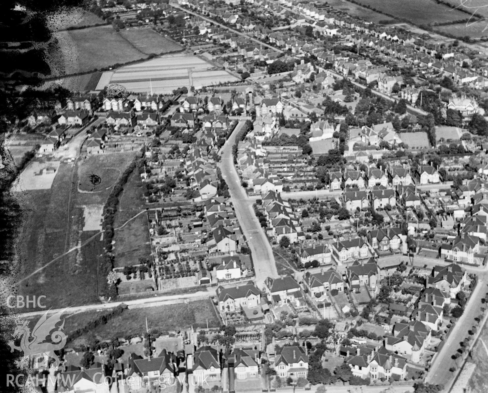 General view of Llandaff North, oblique aerial view. 5?x4? black and white glass plate negative.