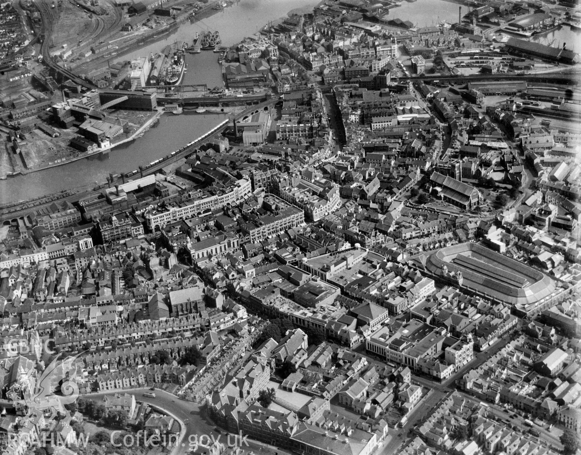 View of central Swansea showing covered market, oblique aerial view. 5?x4? black and white glass plate negative.