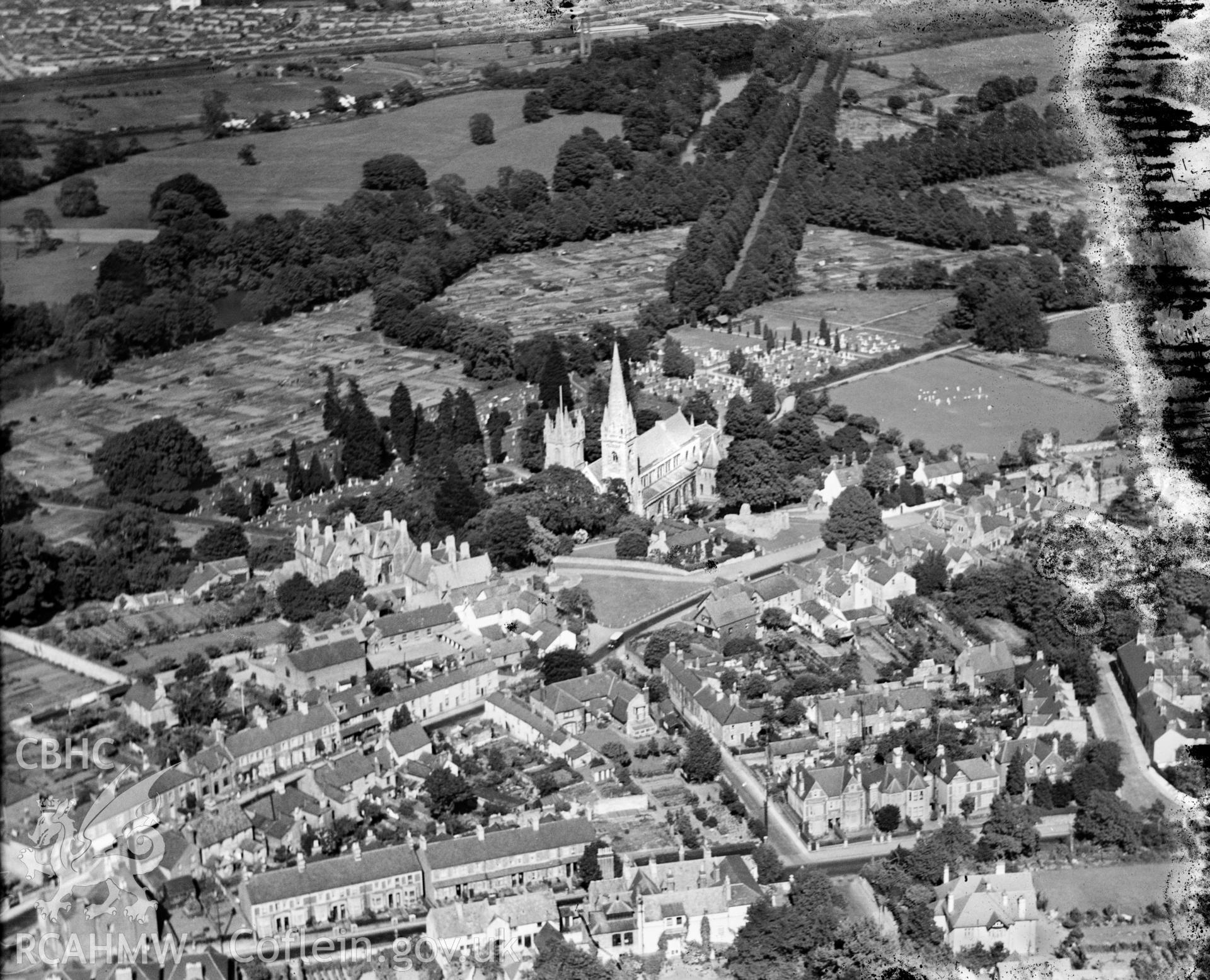 General view of Llandaff North, showing cathedral, oblique aerial view. 5?x4? black and white glass plate negative.