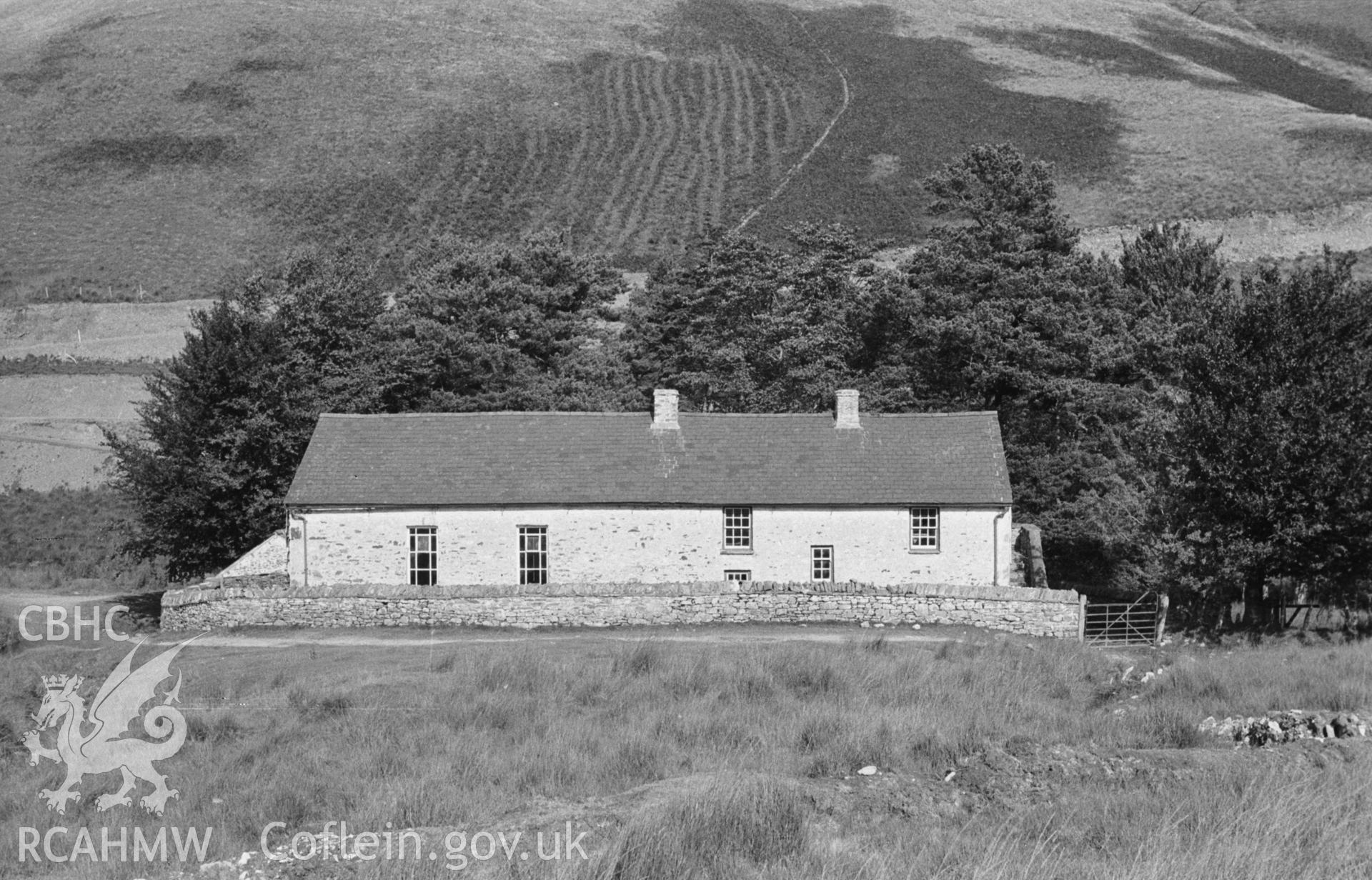 Digital copy of a black and white negative showing exterior rear elevation of Soar-y-Mynydd, Llanddewi Brefi. Photographed in September 1963 by Arthur O. Chater from Grid Reference SN 7844 5326, looking north east.
