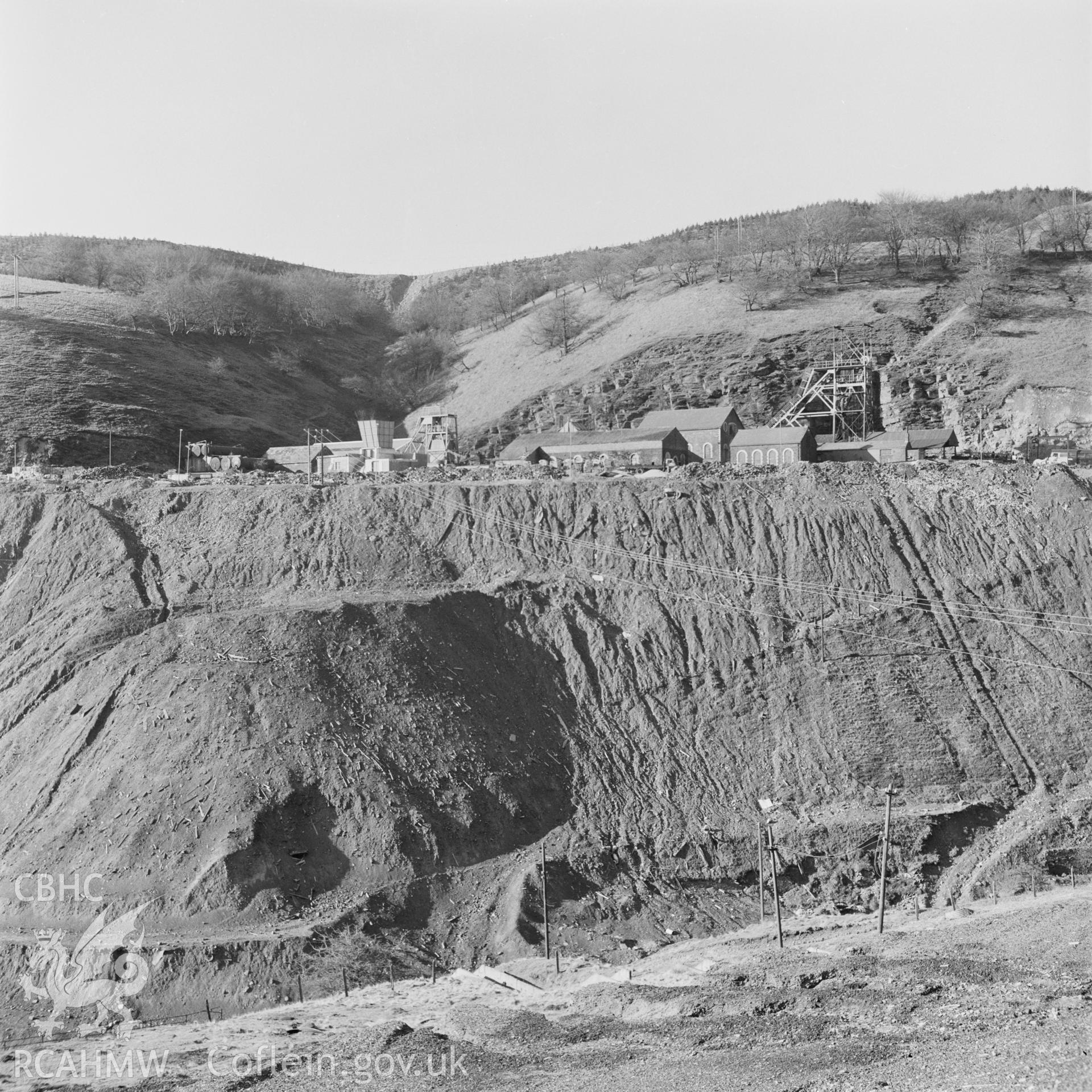 Digital copy of an acetate negative showing Blaenserchan Colliery - view across valley, from the John Cornwell Collection.