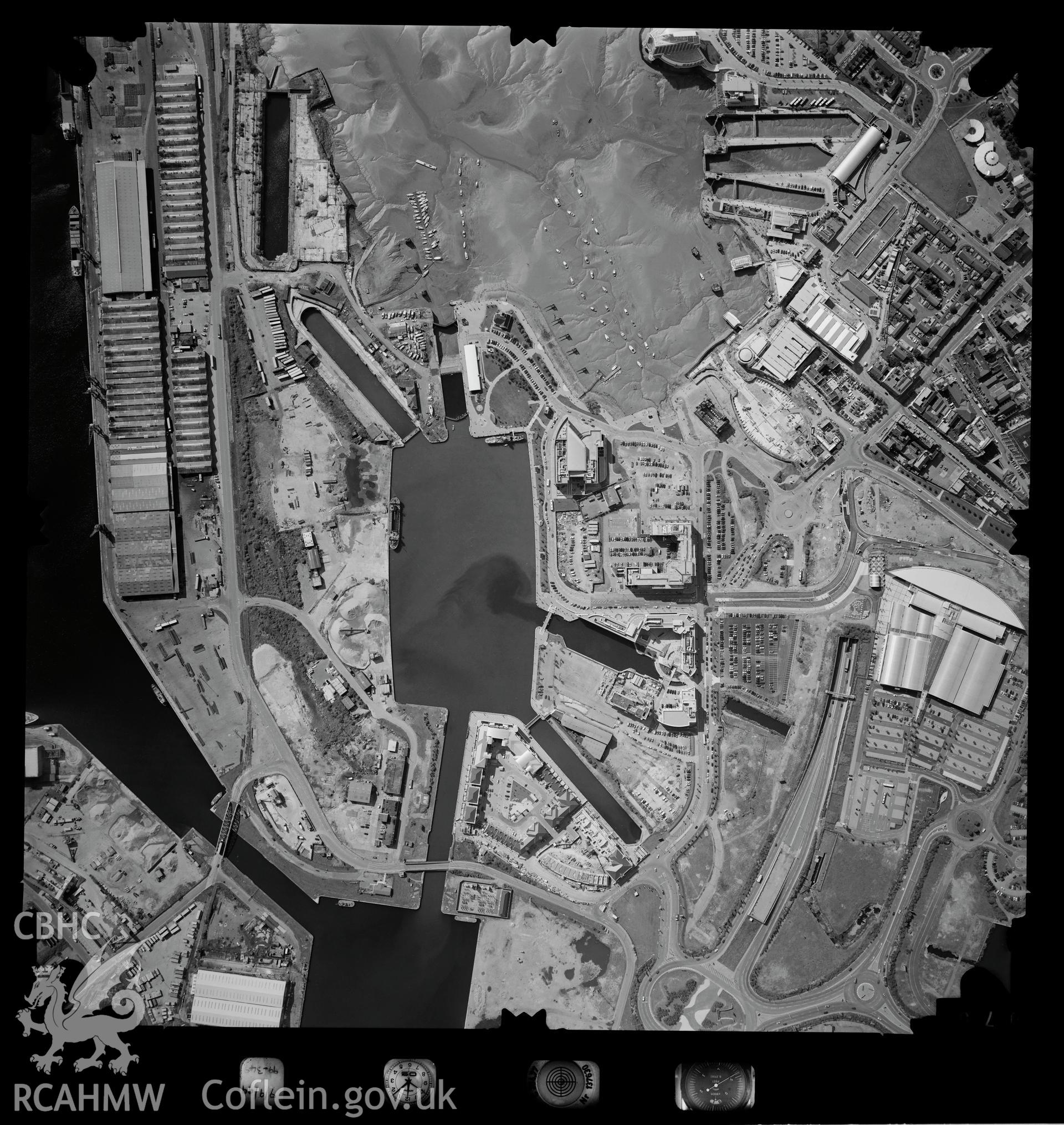 Digitized copy of an aerial photograph showing Cardiff Bay area, taken by Ordnance Survey, 1999.