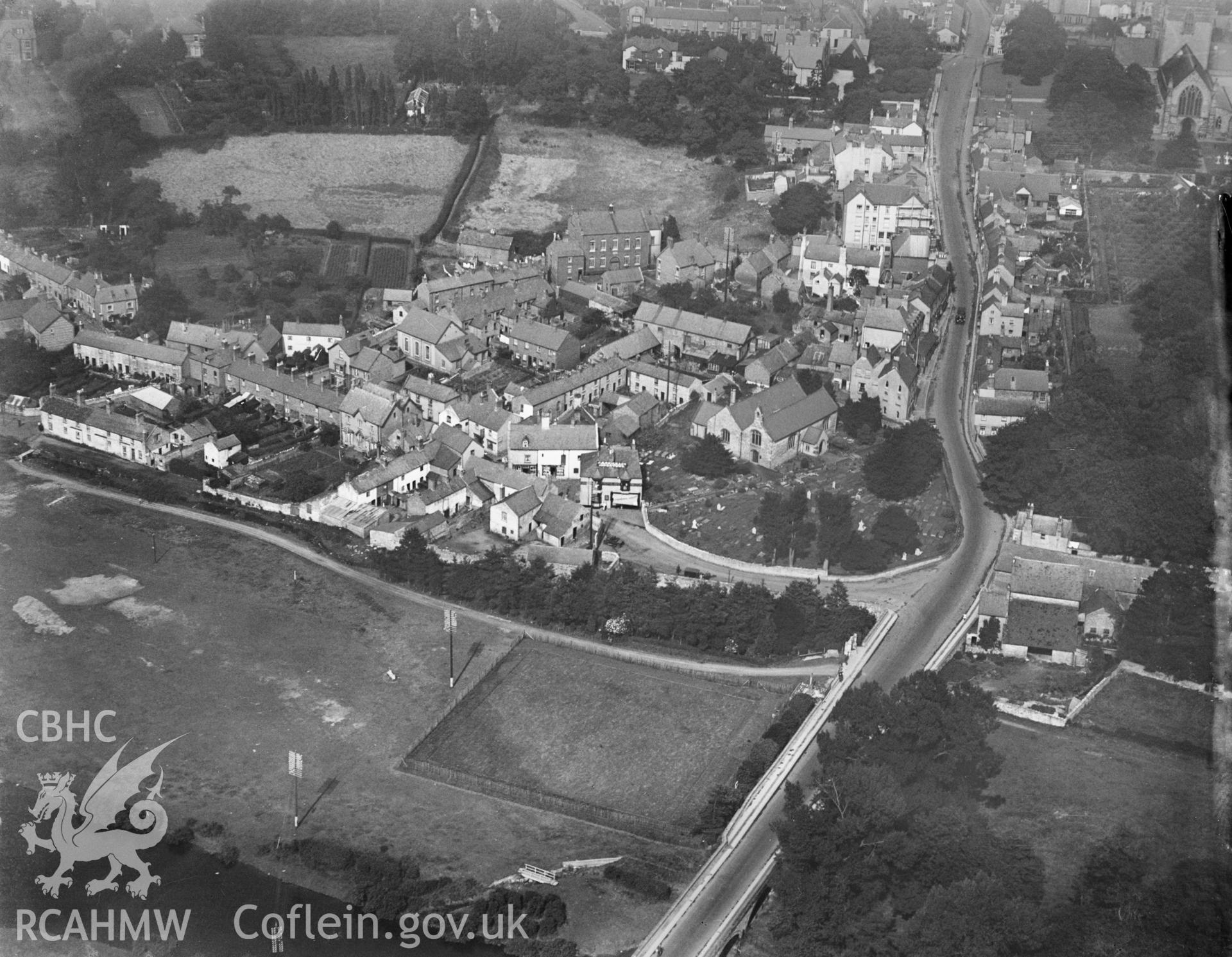 St. Asaph, oblique aerial view. 5?x4? black and white glass plate negative.