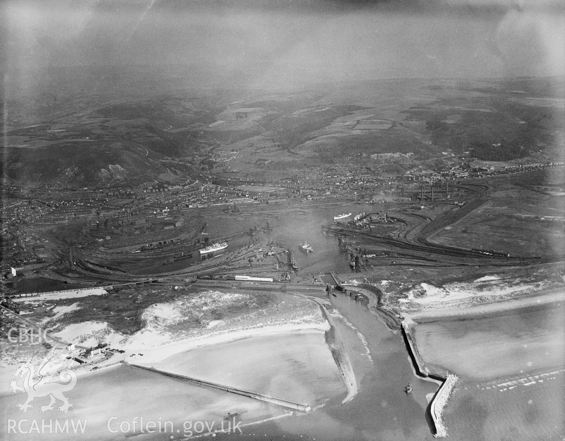 Port Talbot docks Great Western Railway, oblique aerial view.