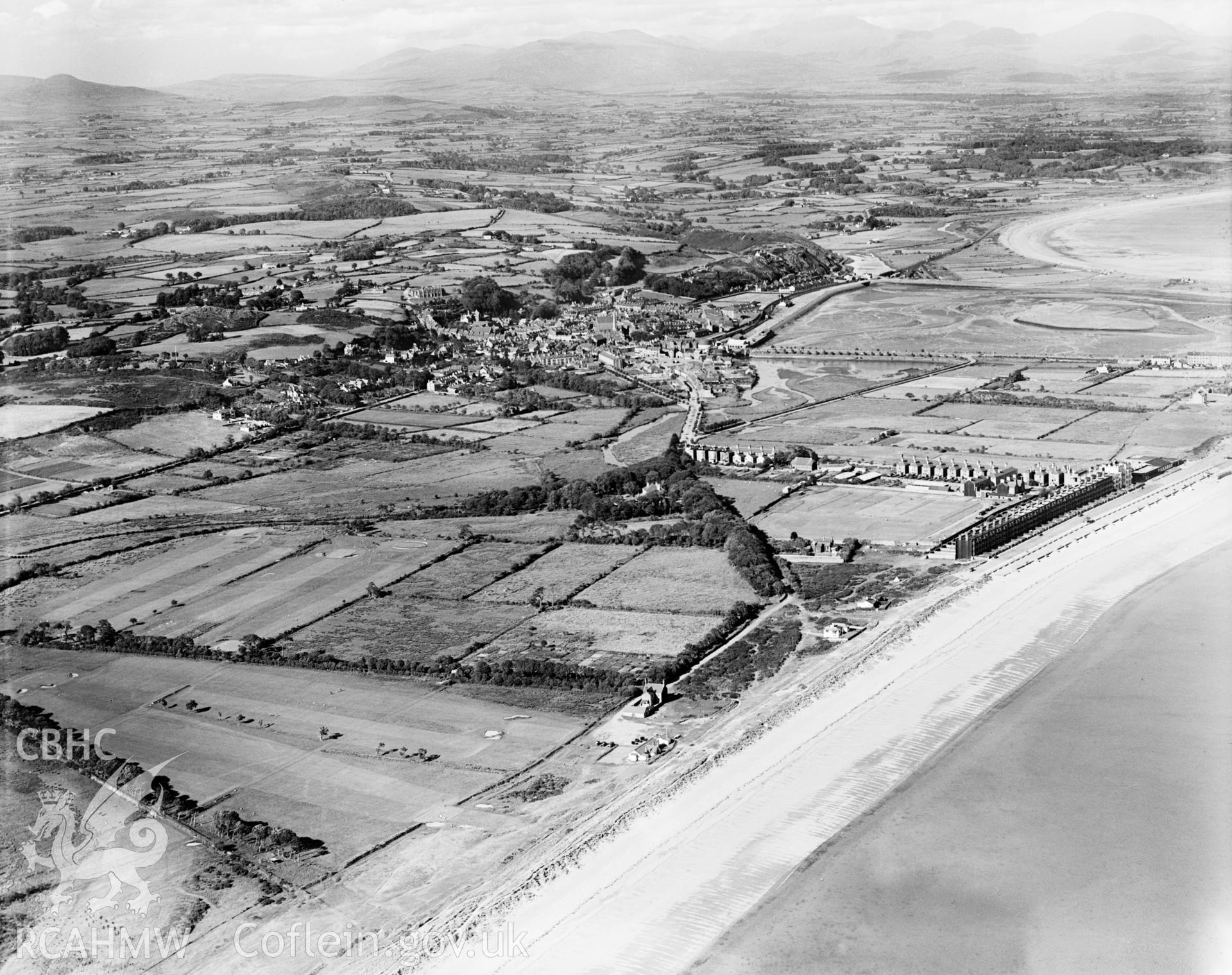 View of Pwllheli showing promenade, oblique aerial view. 5?x4? black and white glass plate negative.
