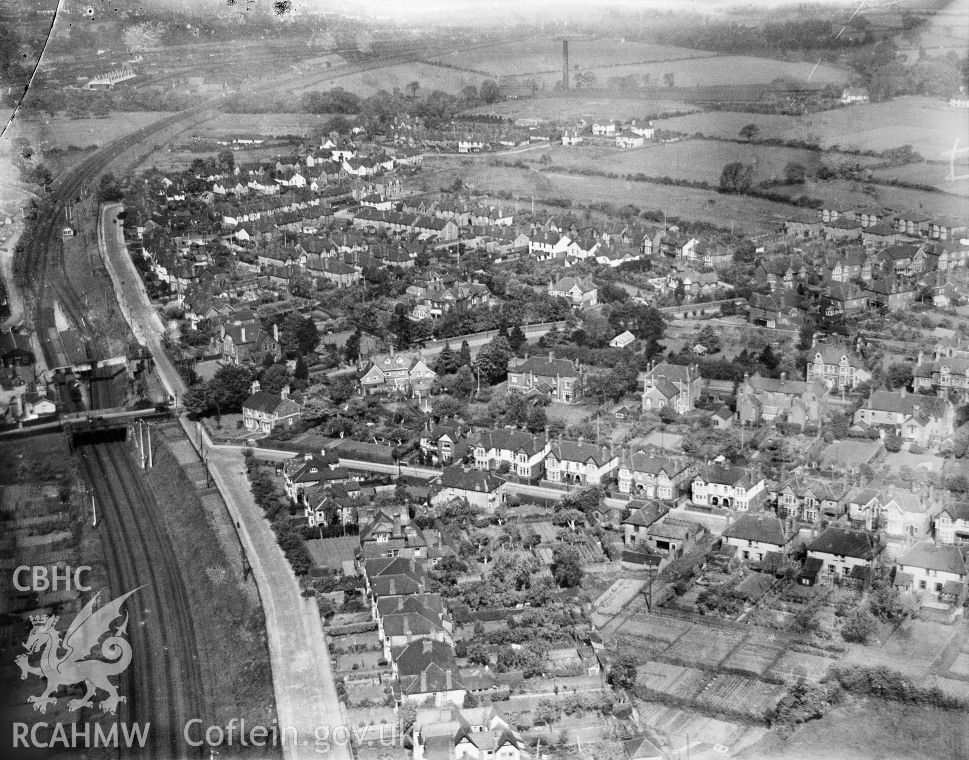 General view of Llandaff, oblique aerial view. 5?x4? black and white glass plate negative.