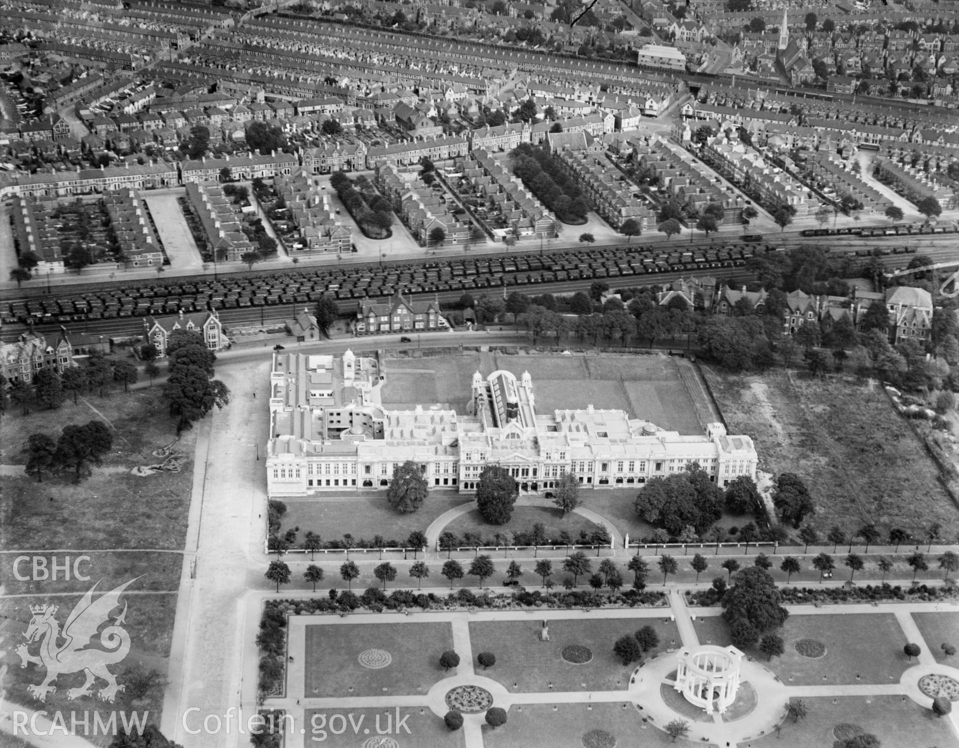 Cardiff University, Cathays Park, oblique aerial view. 5?x4? black and white glass plate negative.