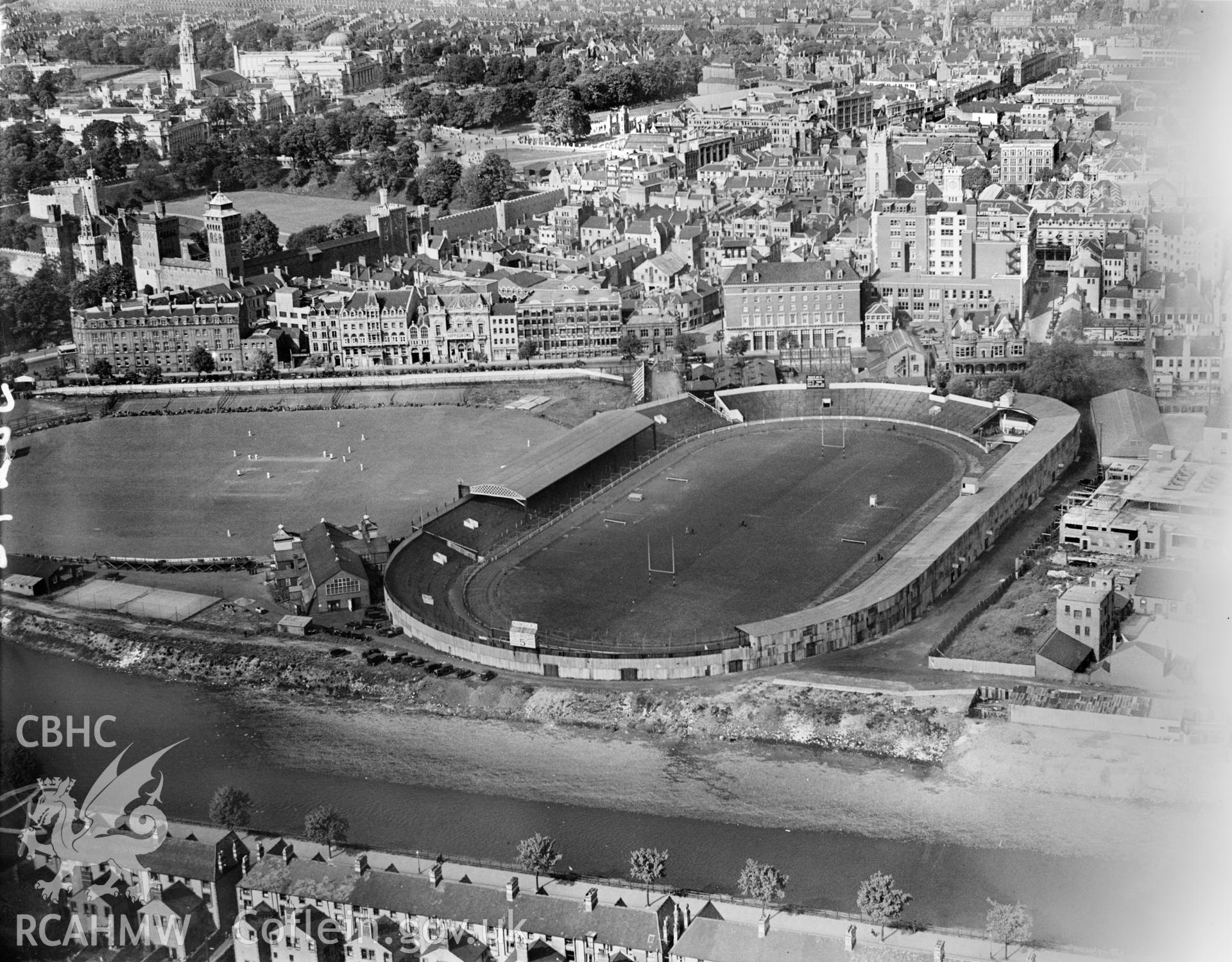 View of Cardiff Arms Park, oblique aerial view. 5?x4? black and white glass plate negative.