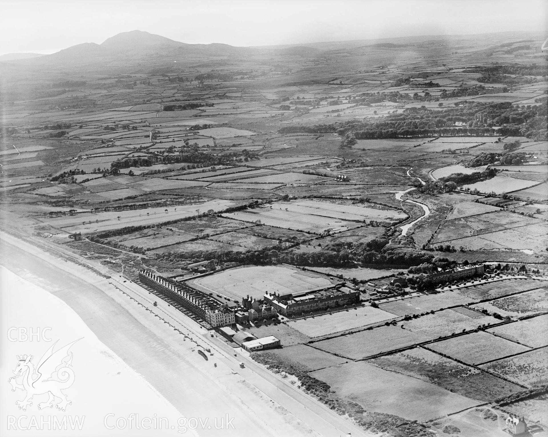 View of Pwllheli showing promenade and recreation ground, oblique aerial view. 5?x4? black and white glass plate negative.