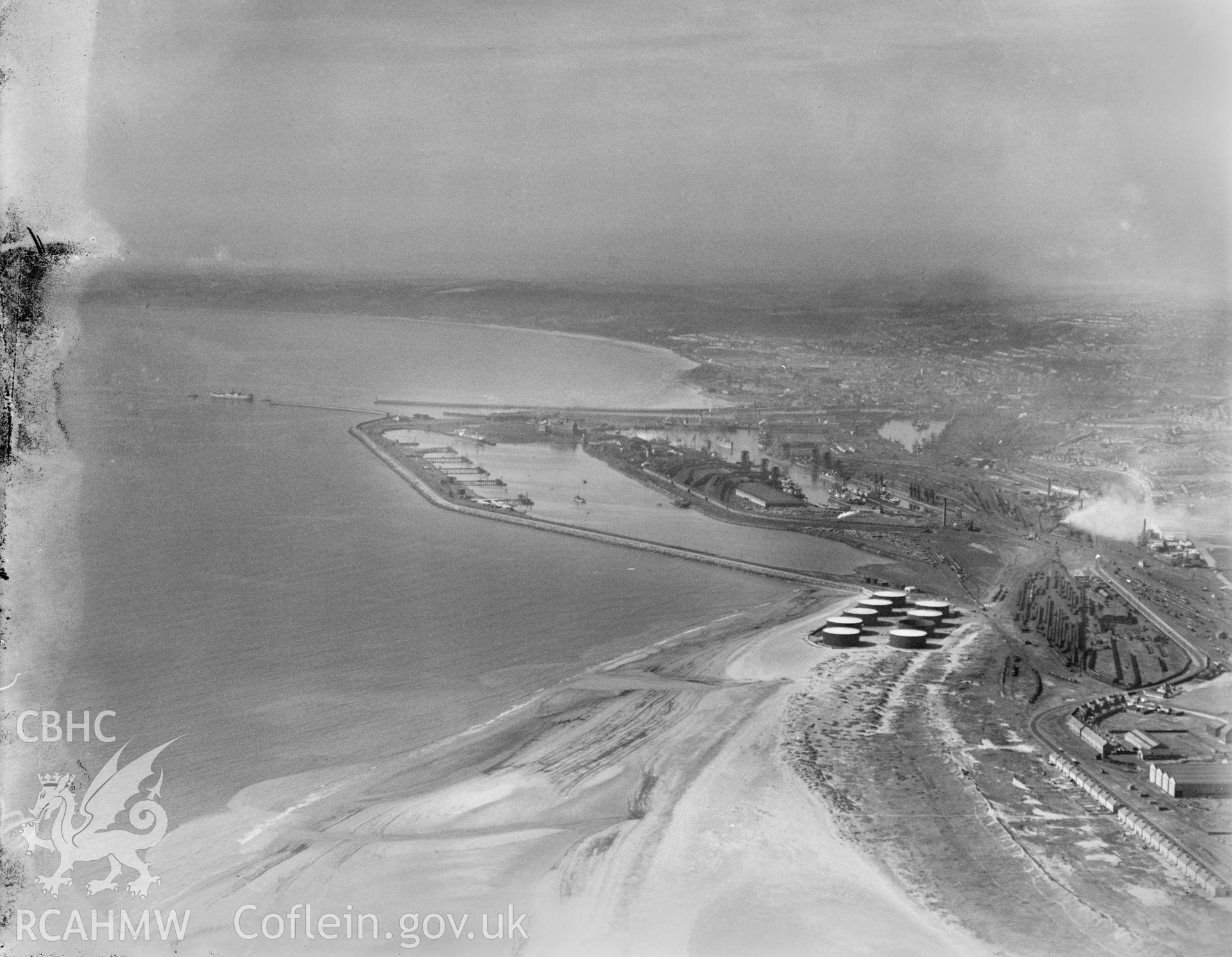 Distant view of Swansea, oblique aerial view. 5?x4? black and white glass plate negative.