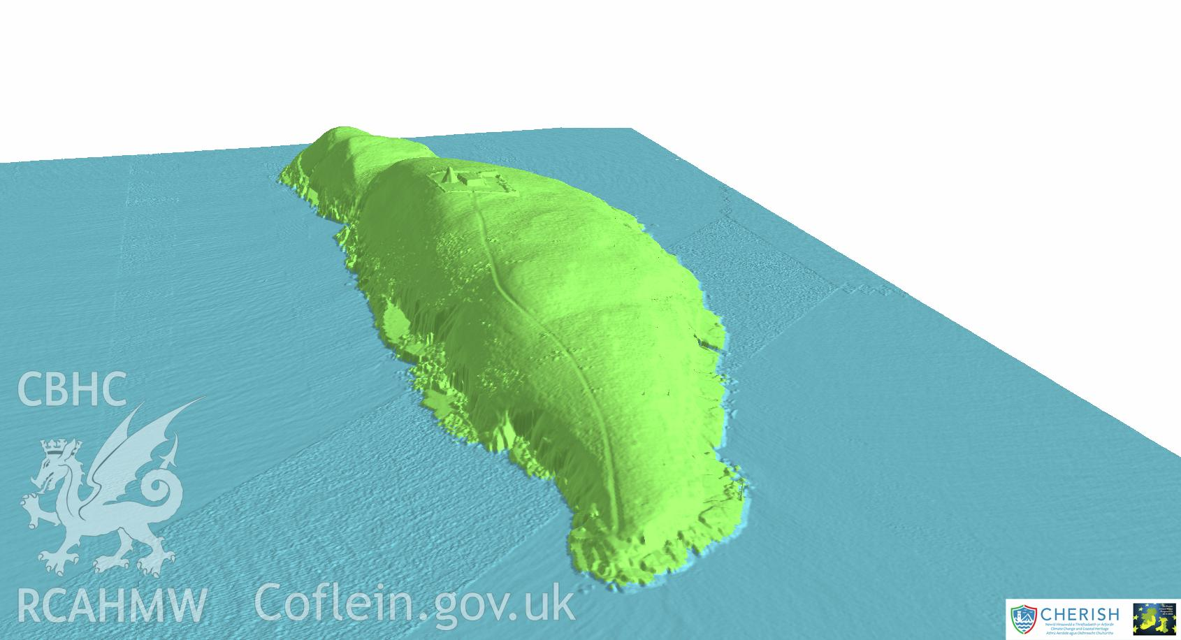 Ynysoedd Tudwal (St. Tudwal?s Islands). Airborne laser scanning (LiDAR) commissioned by the CHERISH Project 2017-2021, flown by Bluesky International LTD at low tide on 24th February 2017. View showing the west island facing north-east.