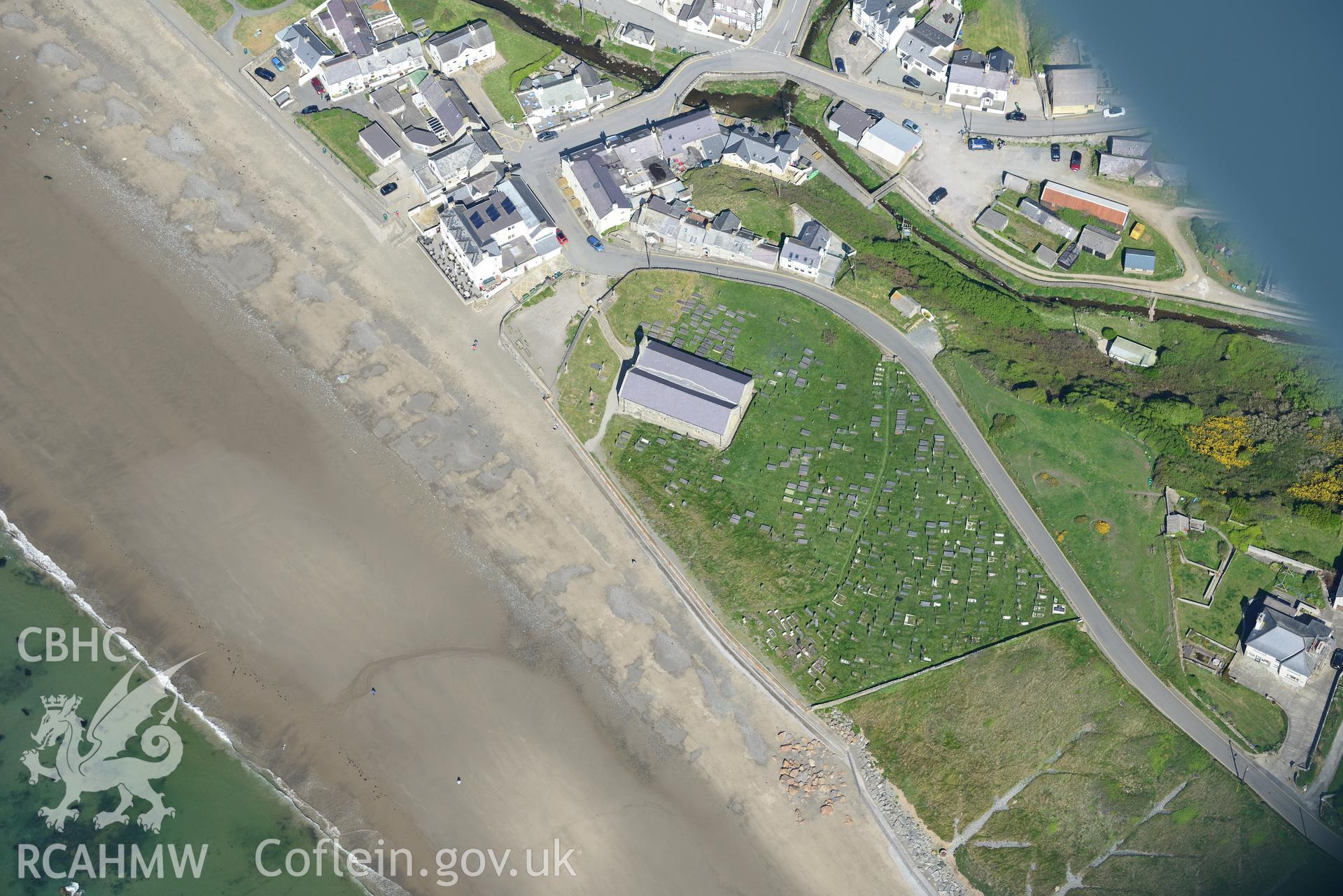 Aerial photography of Aberdaron taken on 3rd May 2017.  Baseline aerial reconnaissance survey for the CHERISH Project. ? Crown: CHERISH PROJECT 2017. Produced with EU funds through the Ireland Wales Co-operation Programme 2014-2020. All material made fre