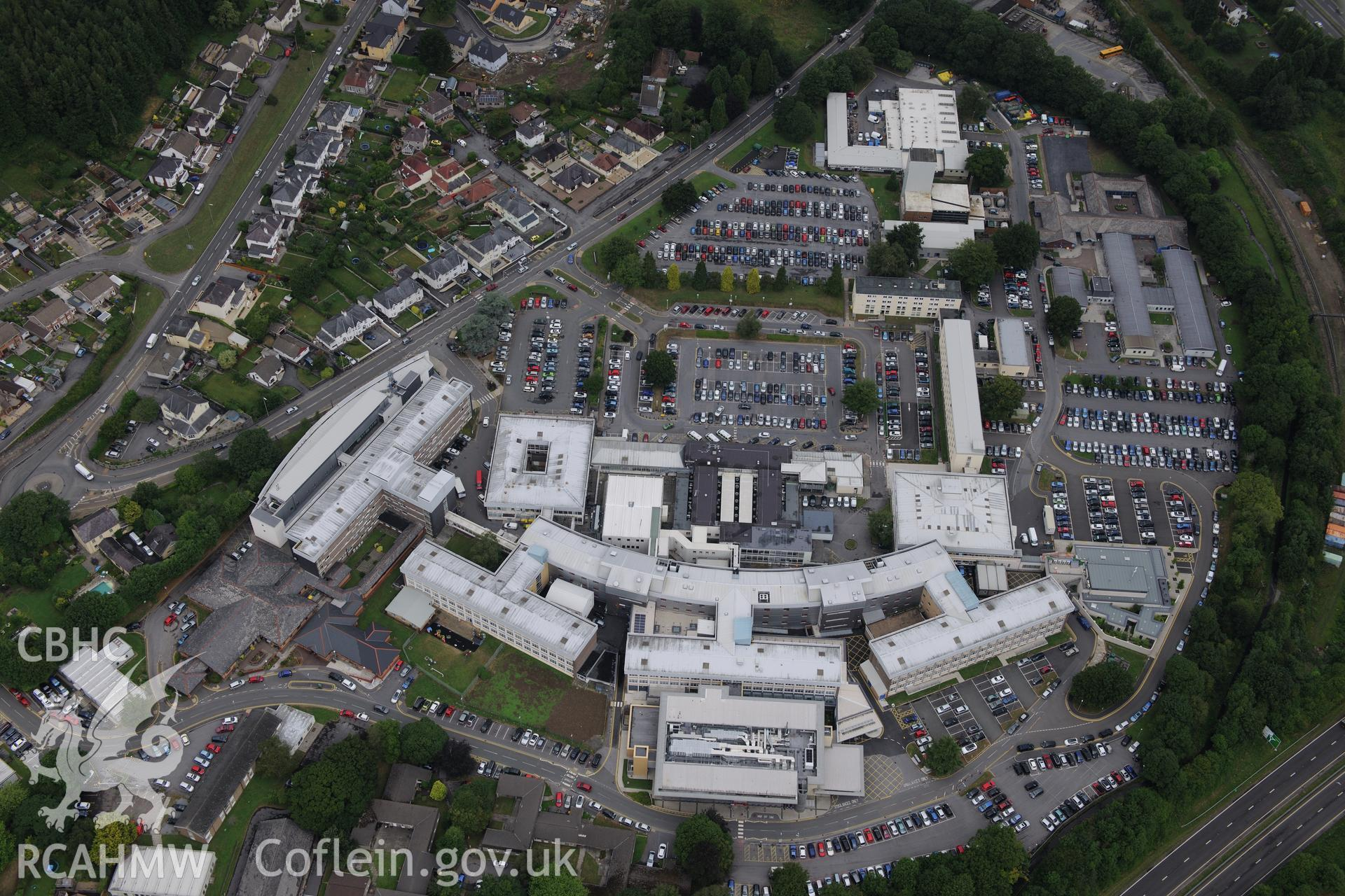 West Wales General Hospital, Carmarthen. Oblique aerial photograph taken during the Royal Commission?s programme of archaeological aerial reconnaissance by Toby Driver on 1st August 2013.