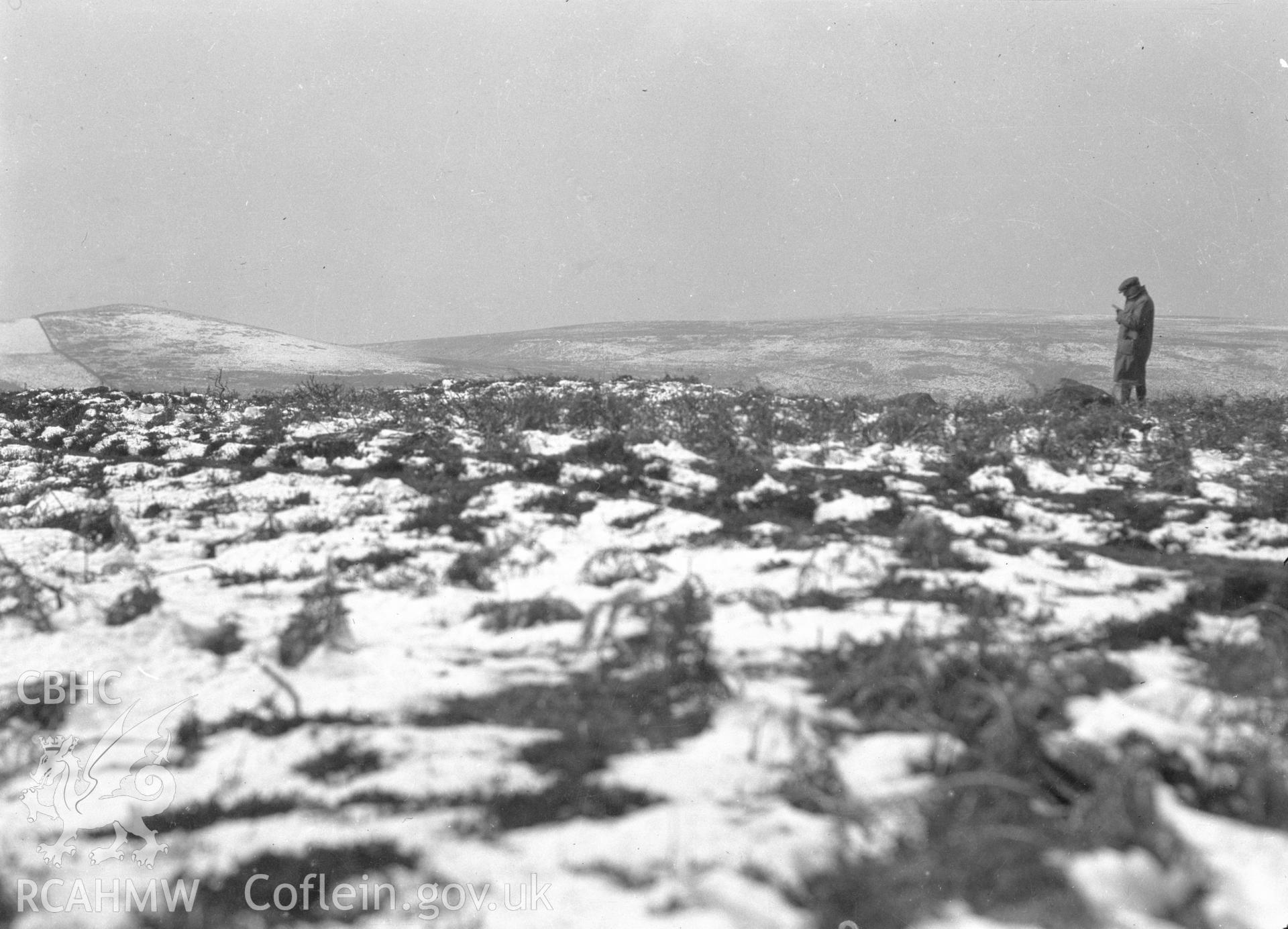 Digital copy of nitrate negative showing Capel Hiraethog cairn. From the Cadw Monuments in Care Collection.