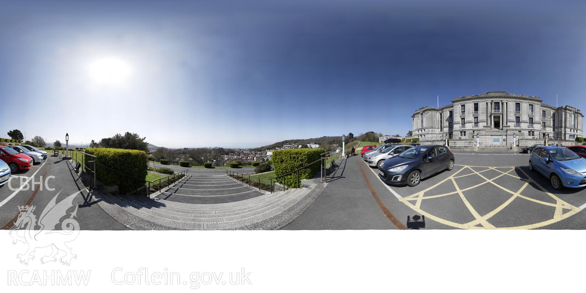 Reduced resolution Tiff of stitched images from in front of the National Library of Wales, Aberystwyth produced by Susan Fielding and Rita Singer, 2018. Produced through European Travellers to Wales project.