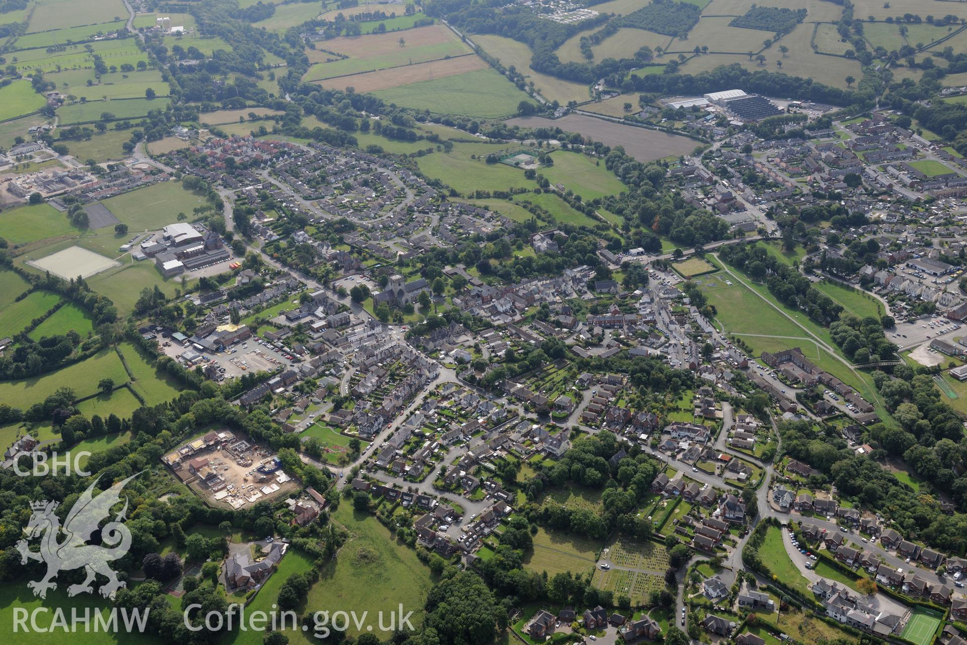 The city of St. Asaph. Oblique aerial photograph taken during the Royal Commission's programme of archaeological aerial reconnaissance by Toby Driver on 11th September 2015.