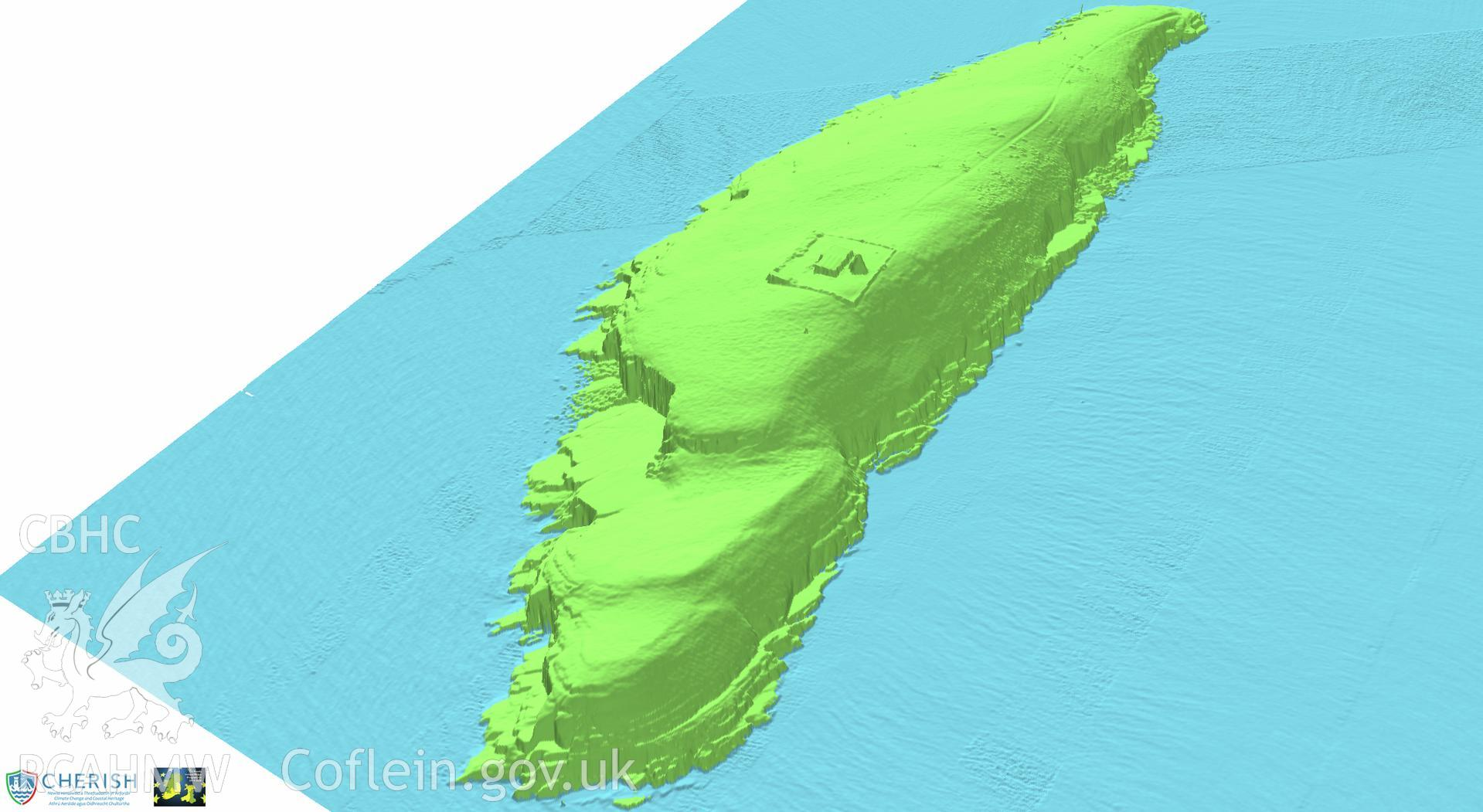 Ynysoedd Tudwal (St. Tudwal?s Islands). Airborne laser scanning (LiDAR) commissioned by the CHERISH Project 2017-2021, flown by Bluesky International LTD at low tide on 24th February 2017. View showing both islands from the north-east.
