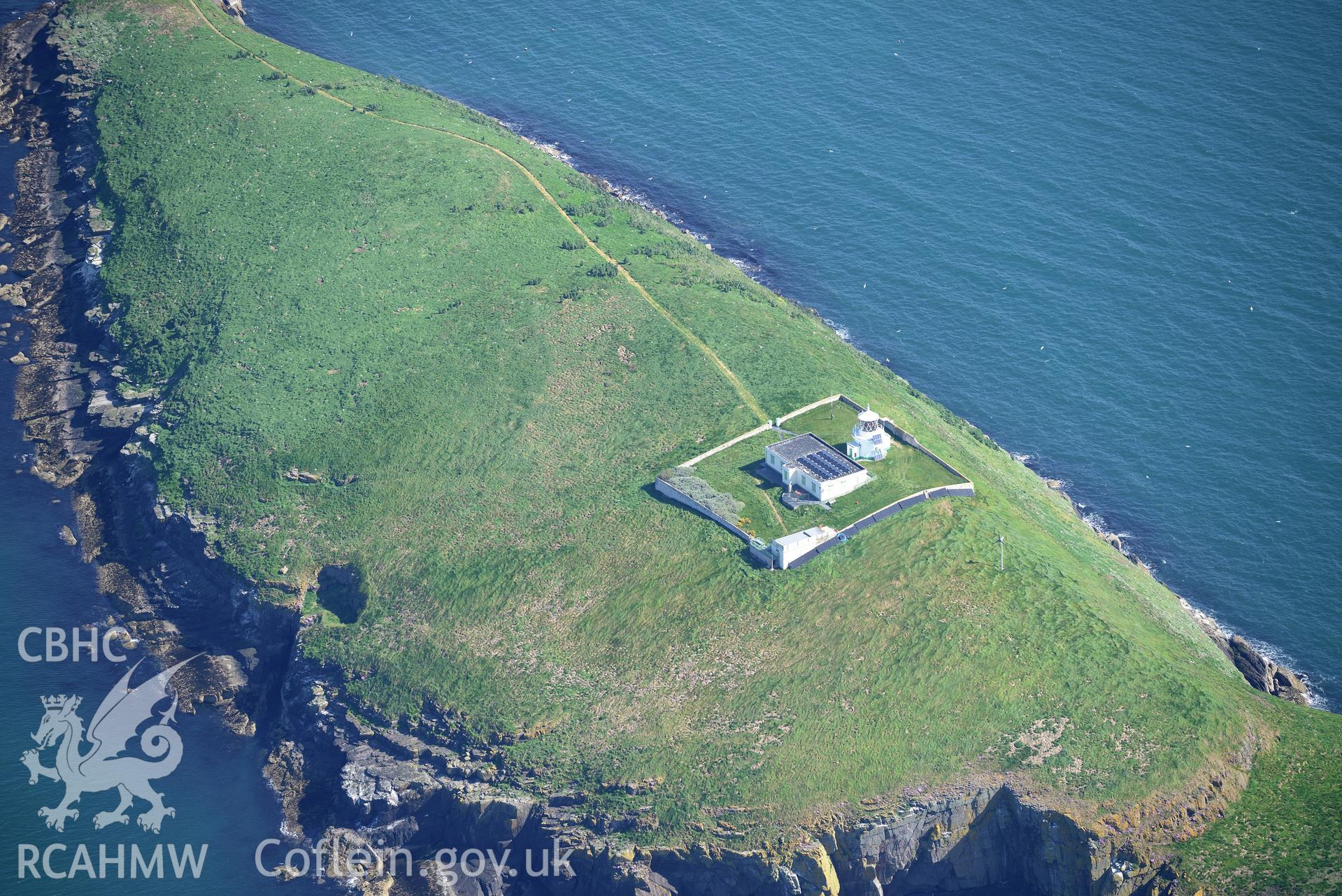 Aerial photography of St Tudwal's Island West taken on 3rd May 2017.  Baseline aerial reconnaissance survey for the CHERISH Project. ? Crown: CHERISH PROJECT 2017. Produced with EU funds through the Ireland Wales Co-operation Programme 2014-2020. All material made freely available through the Open Government Licence.