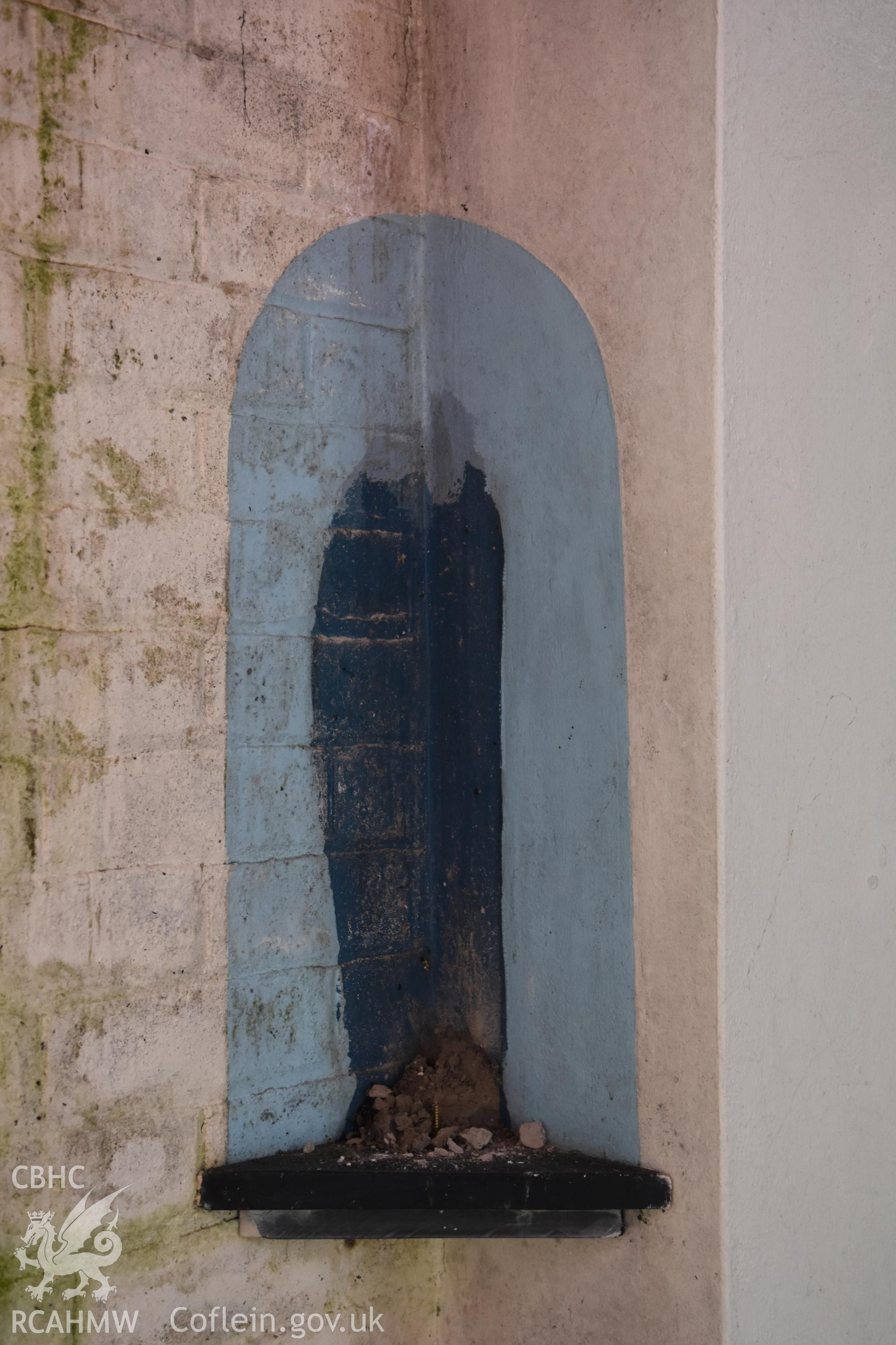 Detailed view of alcove at the Catholic Church of the Holy Spirit, Criccieth. Photographed during survey conducted by Sue Fielding for the RCAHMW, 21st January 2019.