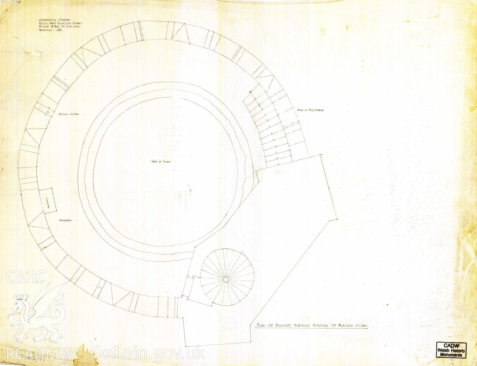 Cadw guardianship monument drawing of Caerphilly Castle. SW tower,roof-level plan. Cadw ref. no: 714B/49. Scale 1:24.