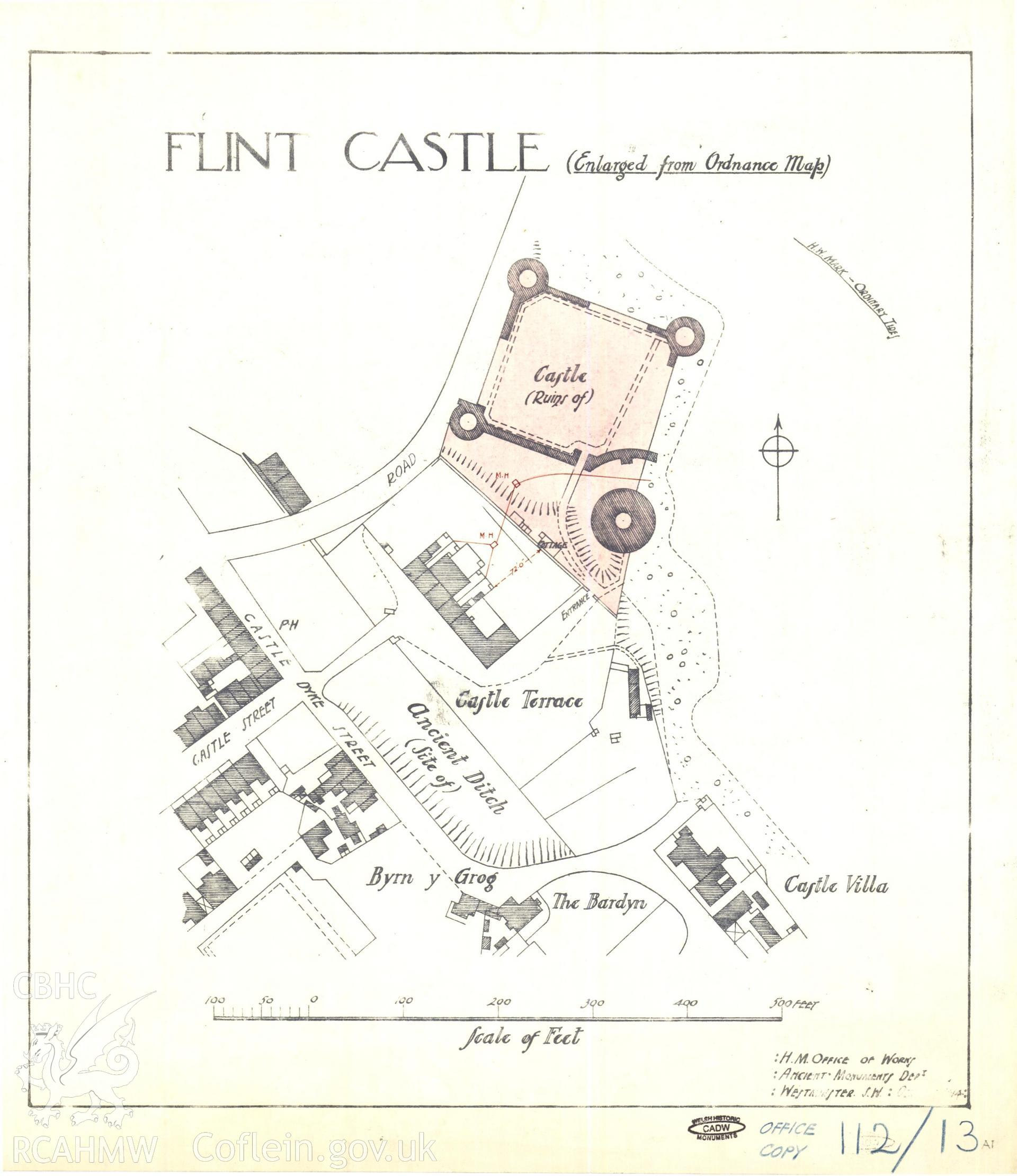 Cadw guardianship monument drawing of Flint Castle. Deed plan, for drains + site hut. Cadw Ref. No:112/13A1. Scale 1:840.