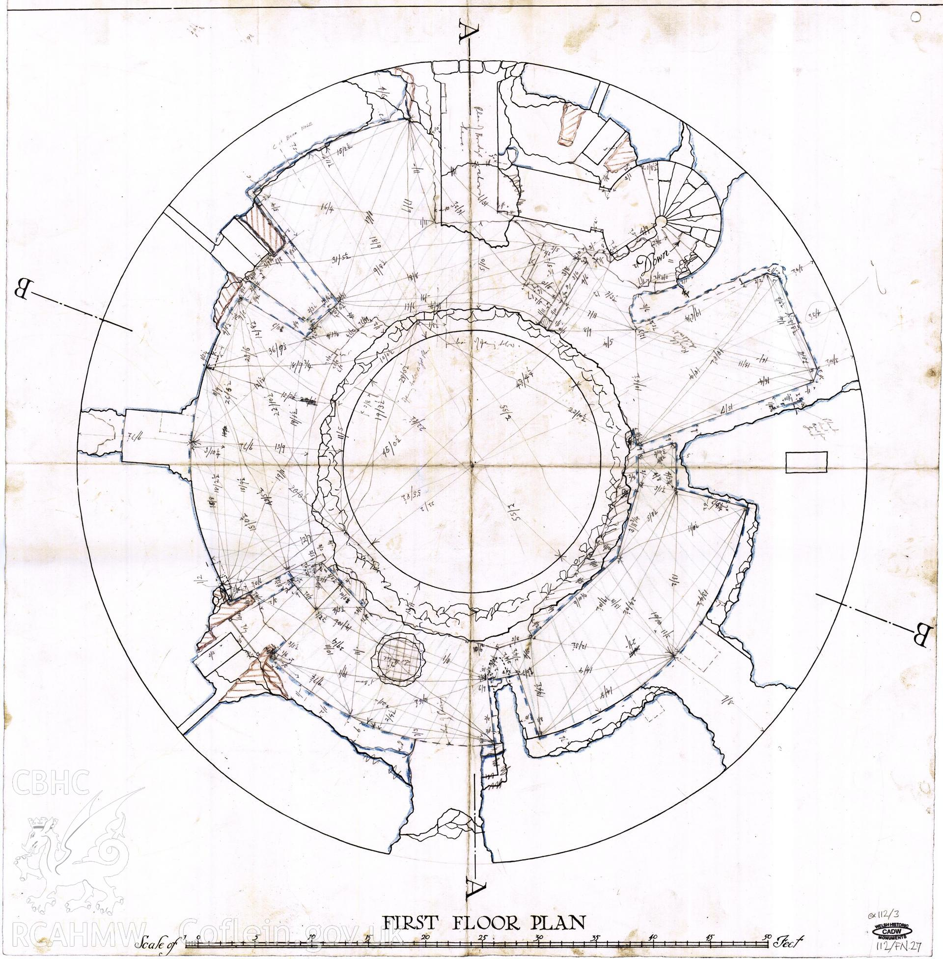 Cadw guardianship monument drawing of Flint Castle. Round keep (SE) u plan (ex 112/4). Cadw Ref. No:112/FN.27. Scale 1:48.