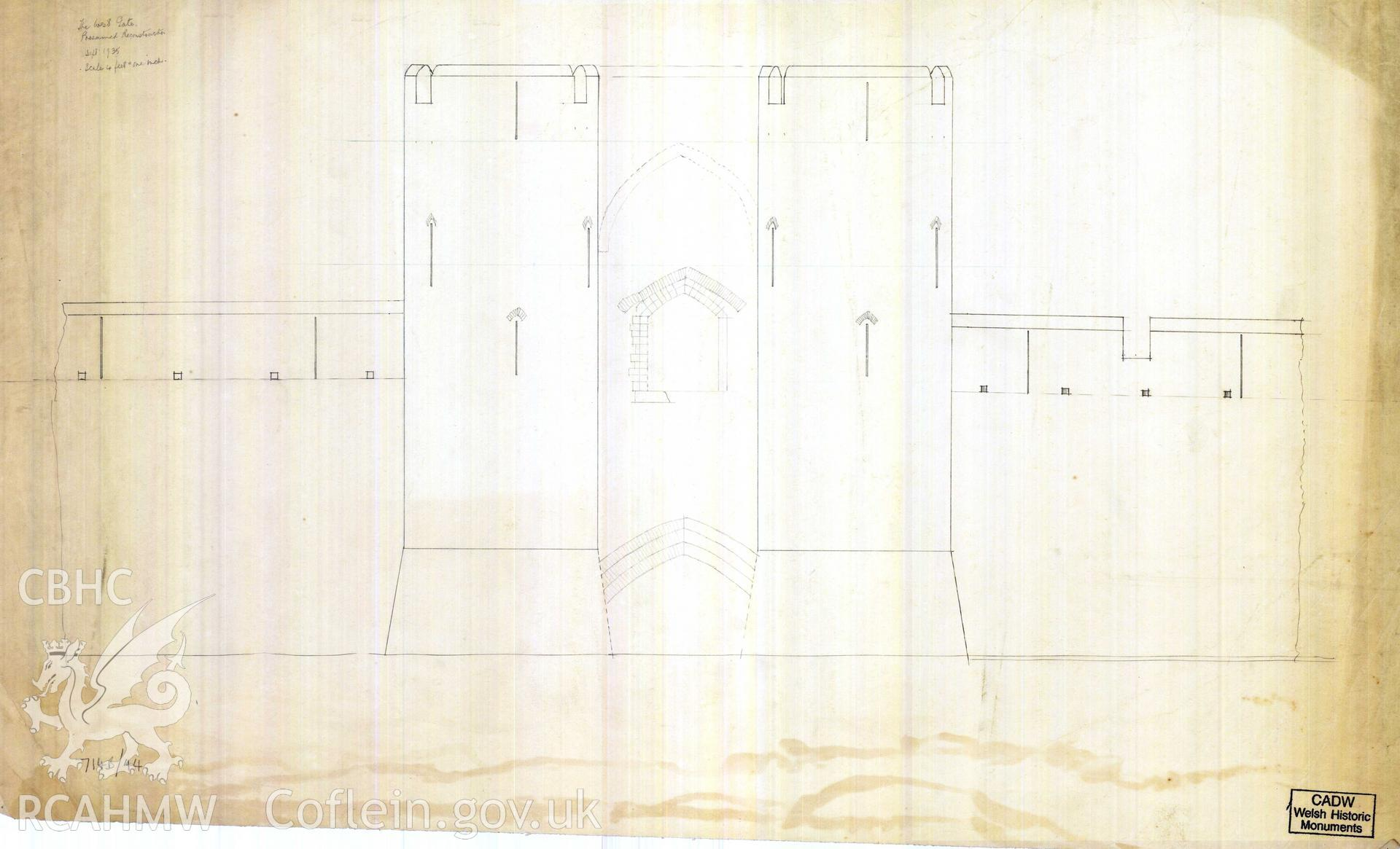 Digital copy of Cadw guardianship monument drawing of Caerphilly Castle. Mid W gate, W (ext) elev. Cadw ref. no: 714B/44. Scale 1:48. Original drawing withdrawn and returned to Cadw at their request.