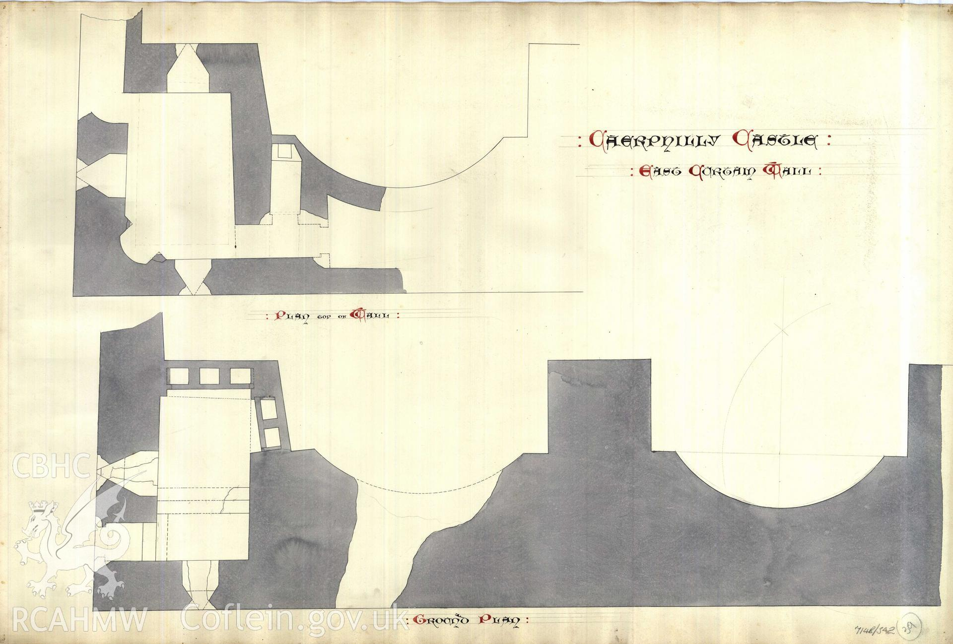 Cadw guardianship monument drawing of Caerphilly Castle. Dam front S, 2 N bays, plan. Cadw Ref. No:714B/342. Scale 1:24.