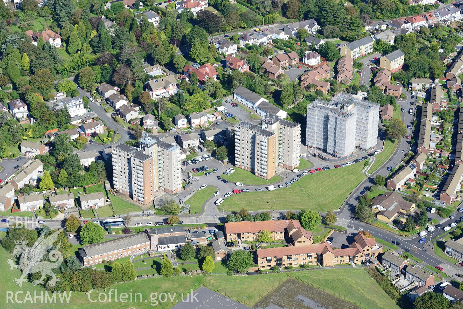 Clyne Court tower blocks, Sketty, Swansea. Oblique aerial photograph taken during the Royal Commission's programme of archaeological aerial reconnaissance by Toby Driver on 30th September 2015.
