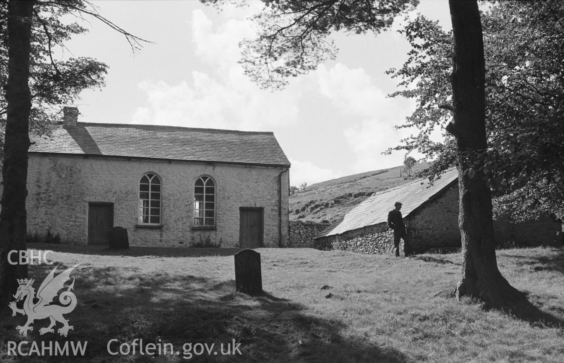 Digital copy of a black and white negative showing exterior front elevation of Soar-y-Mynydd, Llanddewi Brefi. Photographed in September 1963 by Arthur O. Chater from the graveyard at Grid Reference SN 7850 5328, looking west south west.