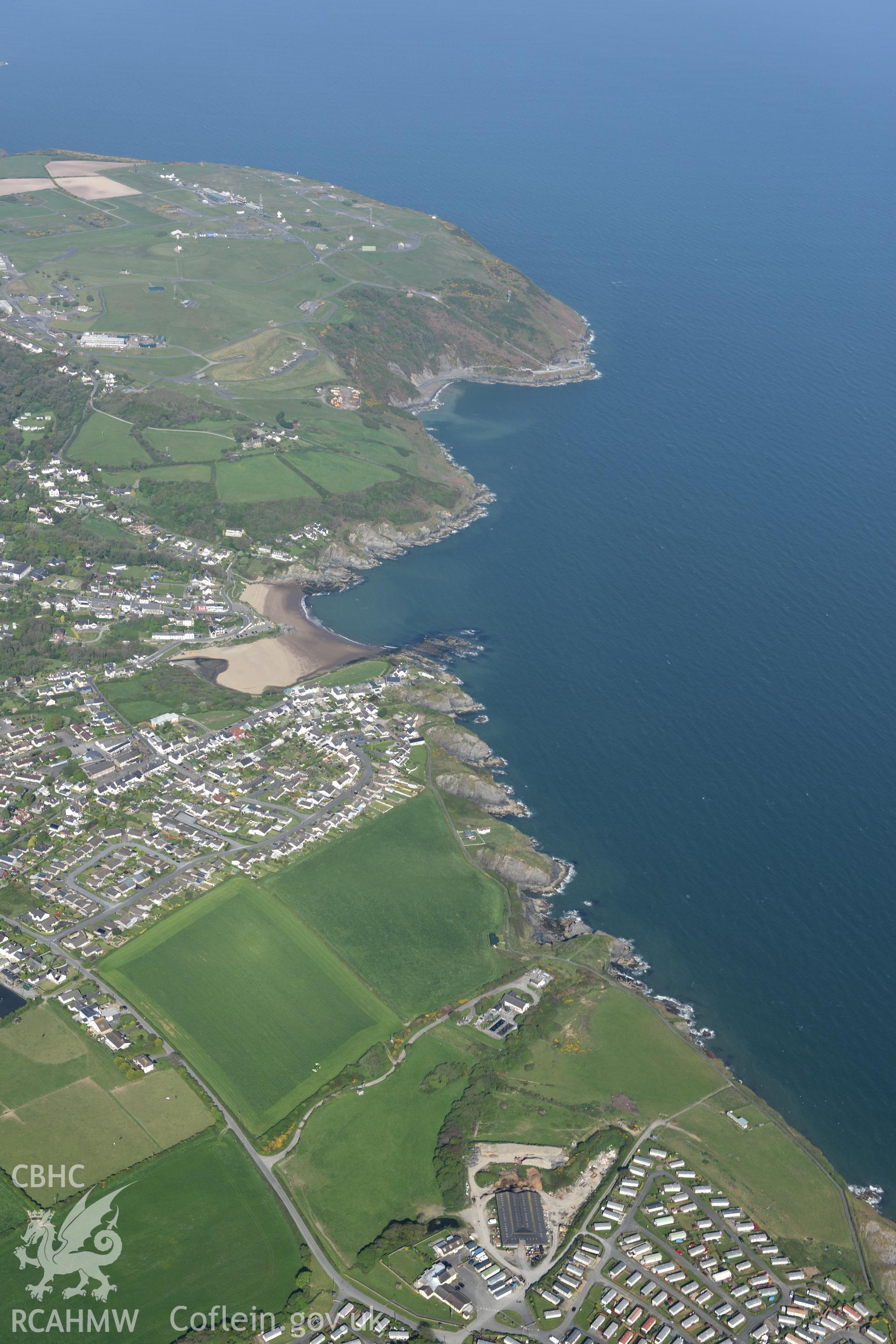 Aerial photography of Aberporth taken on 3rd May 2017.  Baseline aerial reconnaissance survey for the CHERISH Project. ? Crown: CHERISH PROJECT 2017. Produced with EU funds through the Ireland Wales Co-operation Programme 2014-2020. All material made fre